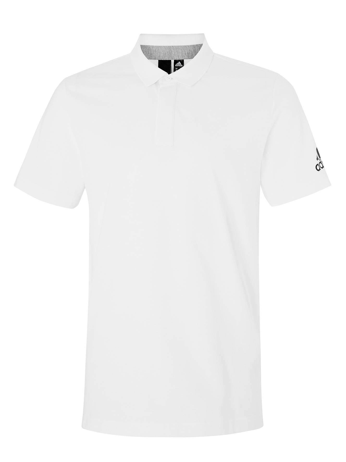 2512ef3c ... Buy adidas Must Haves Plain Polo Shirt, White, M Online at  johnlewis.com ...