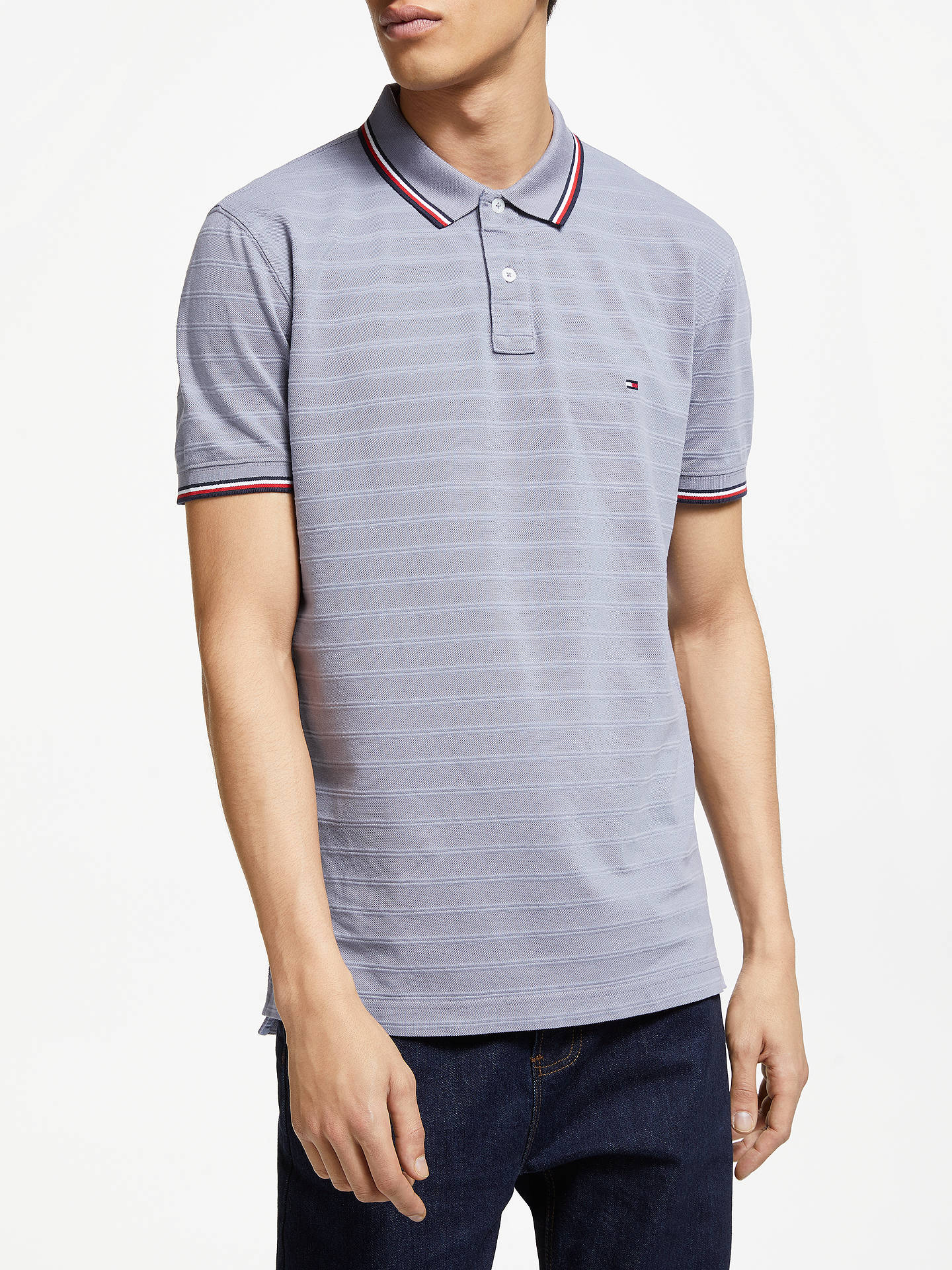 33b8ac00 Buy Tommy Hilfiger Tonal Texture Polo Shirt, Grey, S Online at  johnlewis.com ...