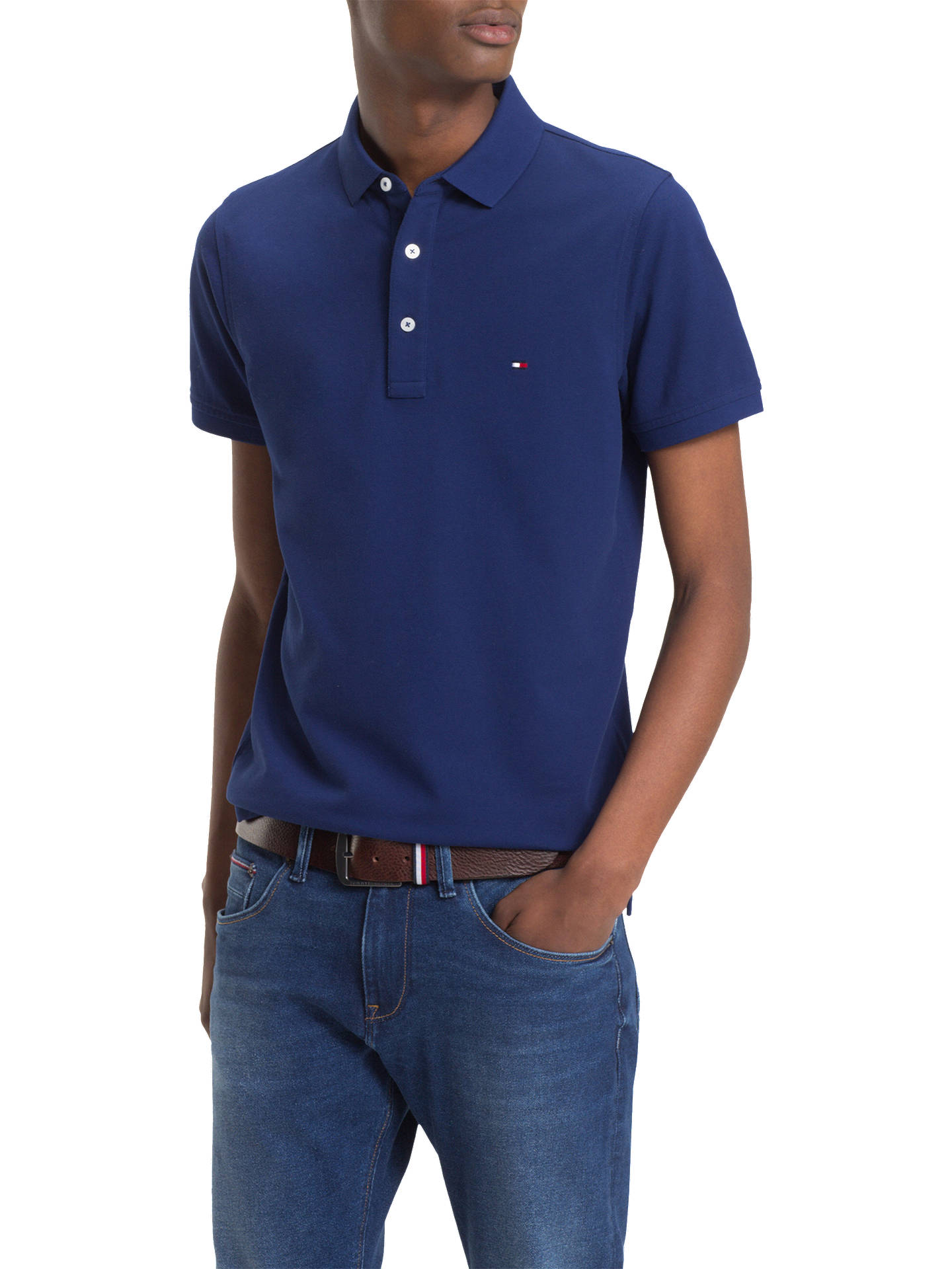 780a6471 Buy Tommy Hilfiger Slim Polo Shirt, Blue, S Online at johnlewis.com ...