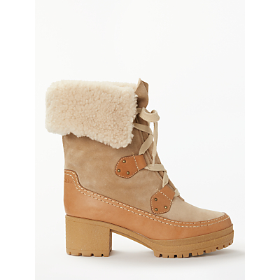 See By Chloé Lace Up Block Heel Ankle Boots, Neutral Suede