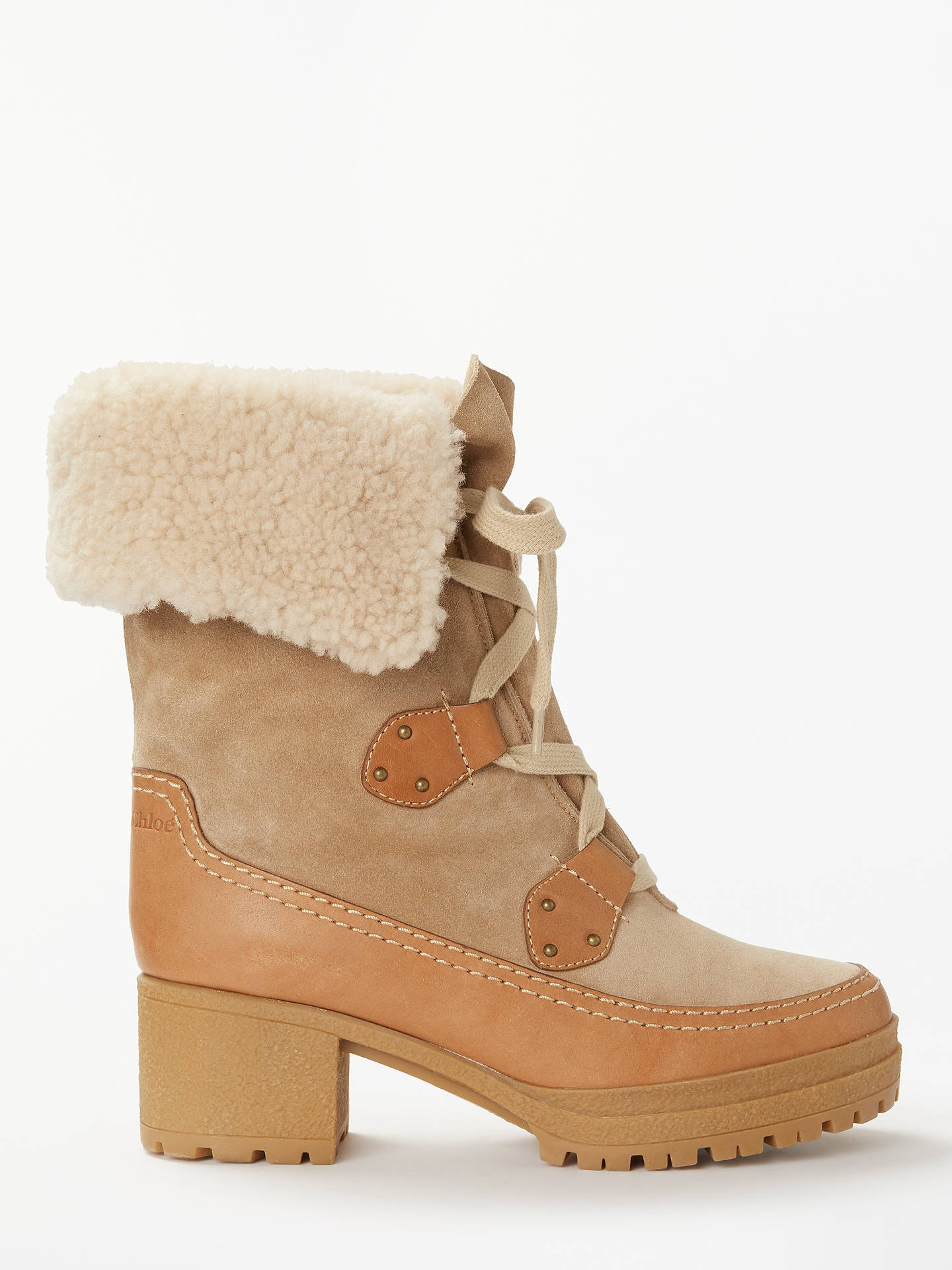 Buy See By Chloé Lace Up Block Heel Ankle Boots, Neutral Suede, 4 Online at johnlewis.com