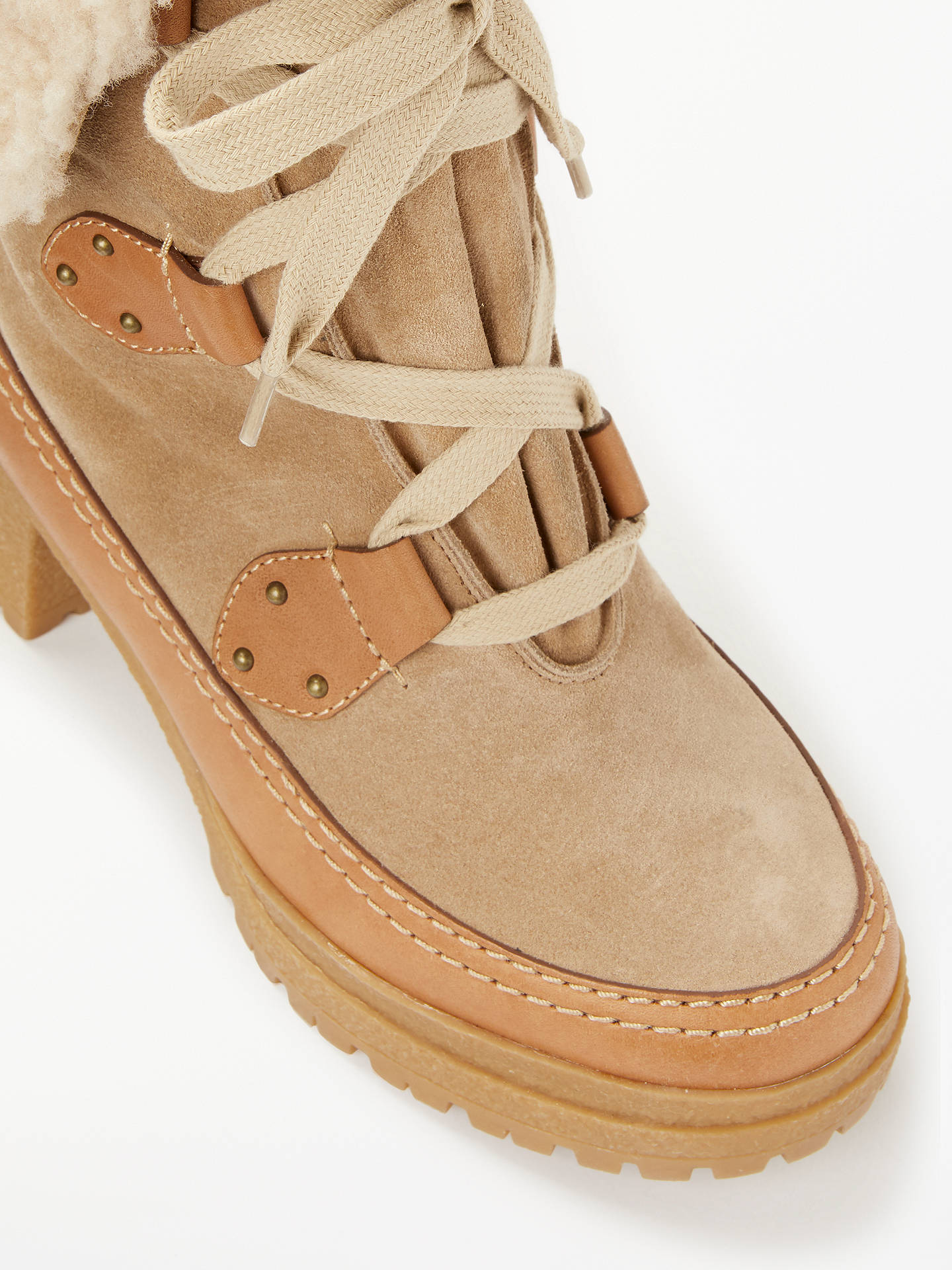 BuySee By Chloé Lace Up Block Heel Ankle Boots, Neutral Suede, 6 Online at johnlewis.com