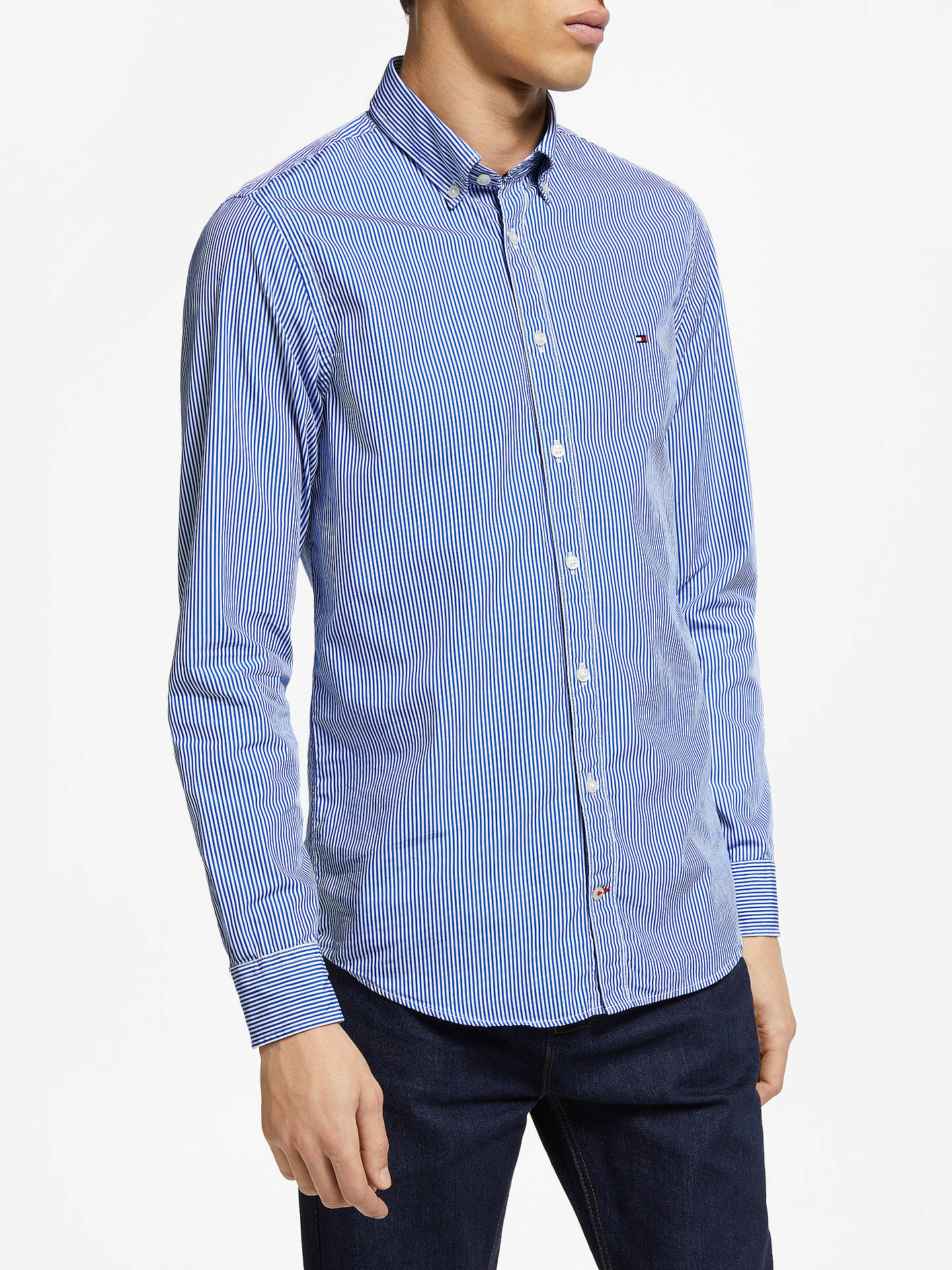 be90b43dc Buy Tommy Hilfiger Slim Fit Classic Stripe Shirt, Blue Lolite/Bright White,  S ...