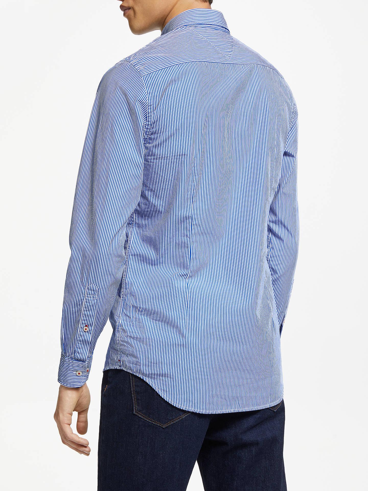 684166a2 ... Buy Tommy Hilfiger Slim Fit Classic Stripe Shirt, Blue Lolite/Bright  White, S ...