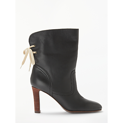 See By Chloé High Block Heeled Ankle Boots, Black Leather