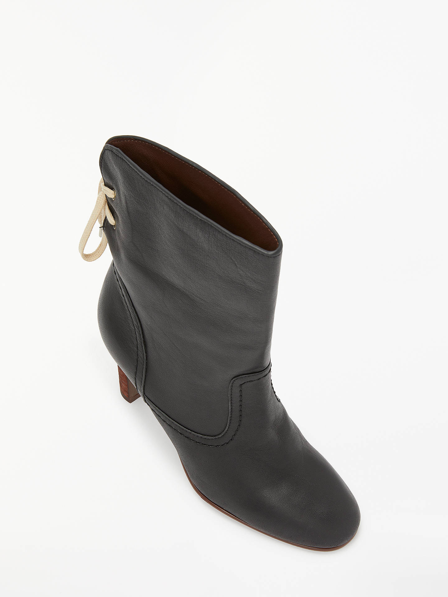 BuySee By Chloé High Block Heeled Ankle Boots, Black Leather, 4 Online at johnlewis.com