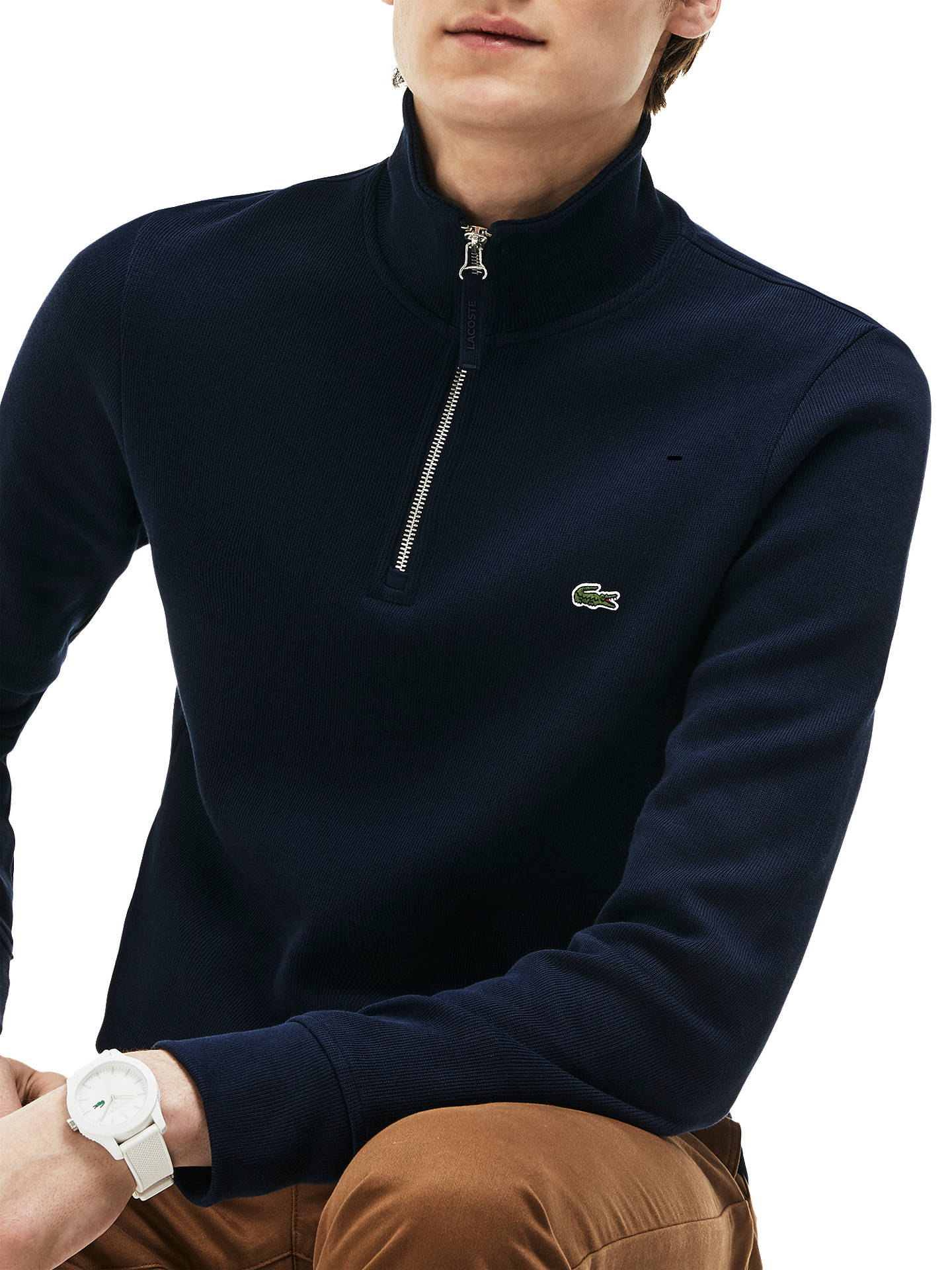 ae0e3a25060 Lacoste Half Zip Cotton Knit Jumper, Navy at John Lewis & Partners