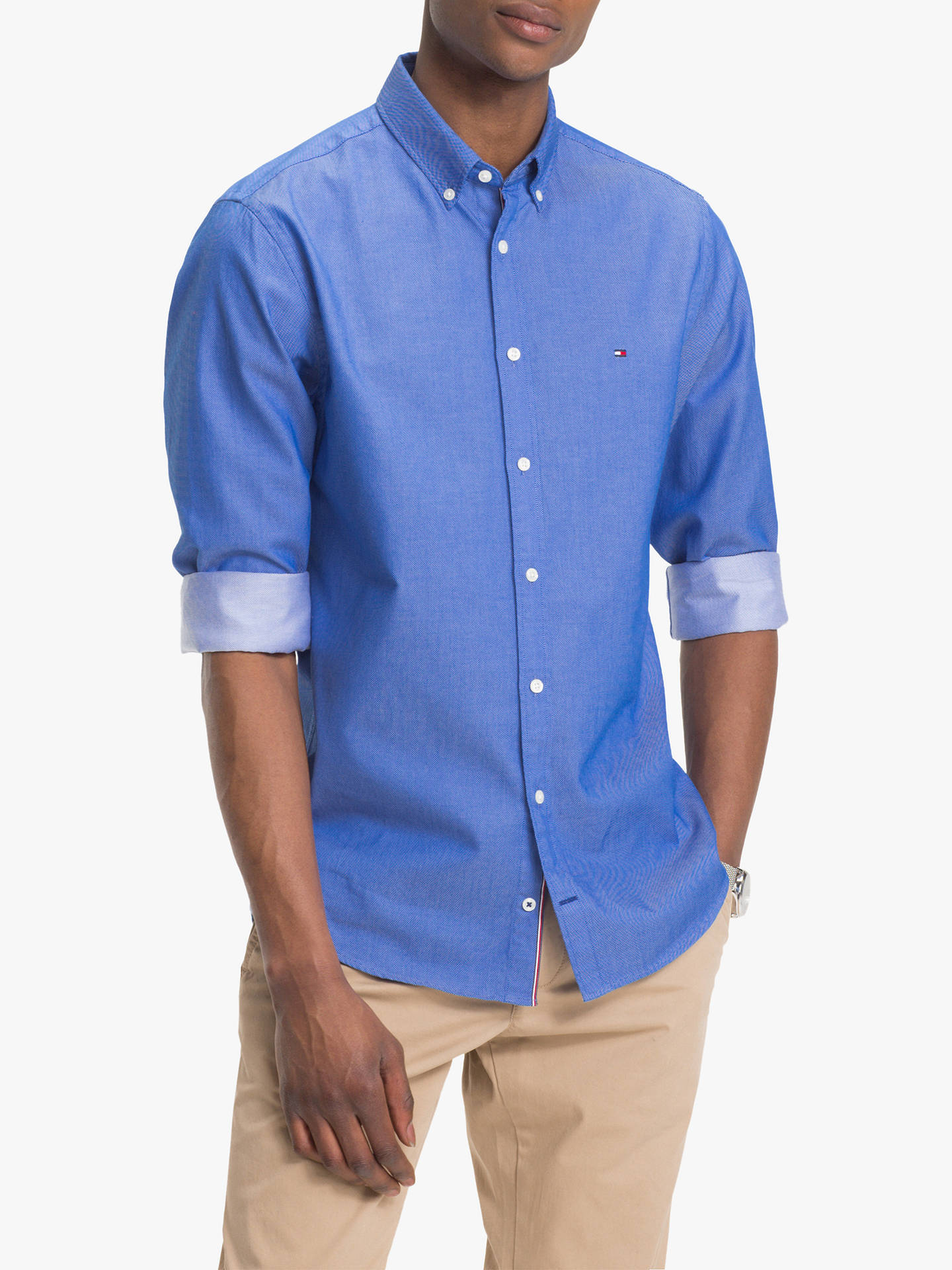 481000c4 Buy Tommy Hilfiger Two Tone Dobby Shirt, Blue Lolite, XL Online at  johnlewis.