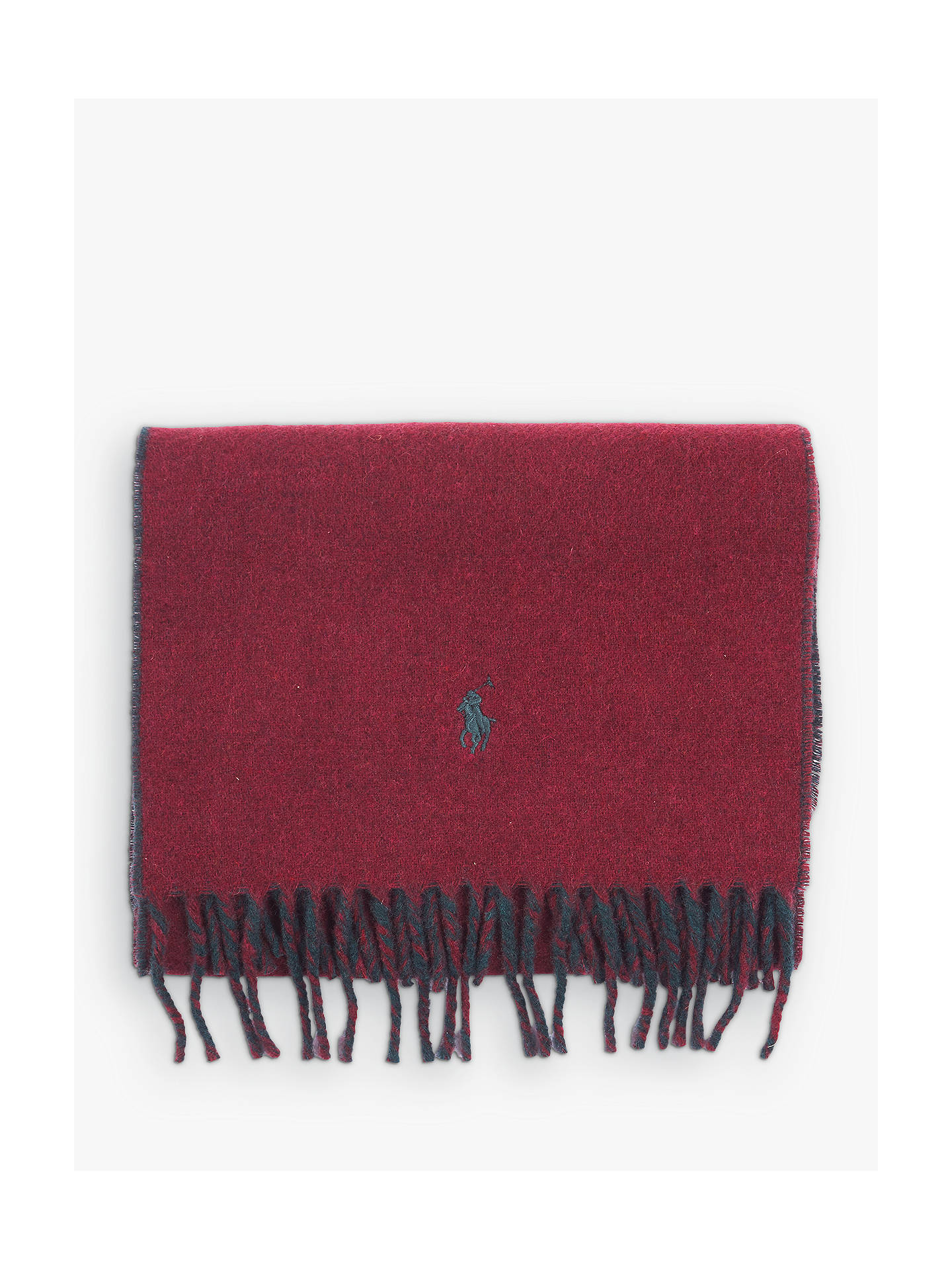 BuyPolo Ralph Lauren Reversible Plain Scarf, One Size, Red, One Size Online at johnlewis.com