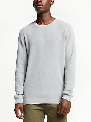 Kin Grid Stitch Crew Neck Jumper, Grey