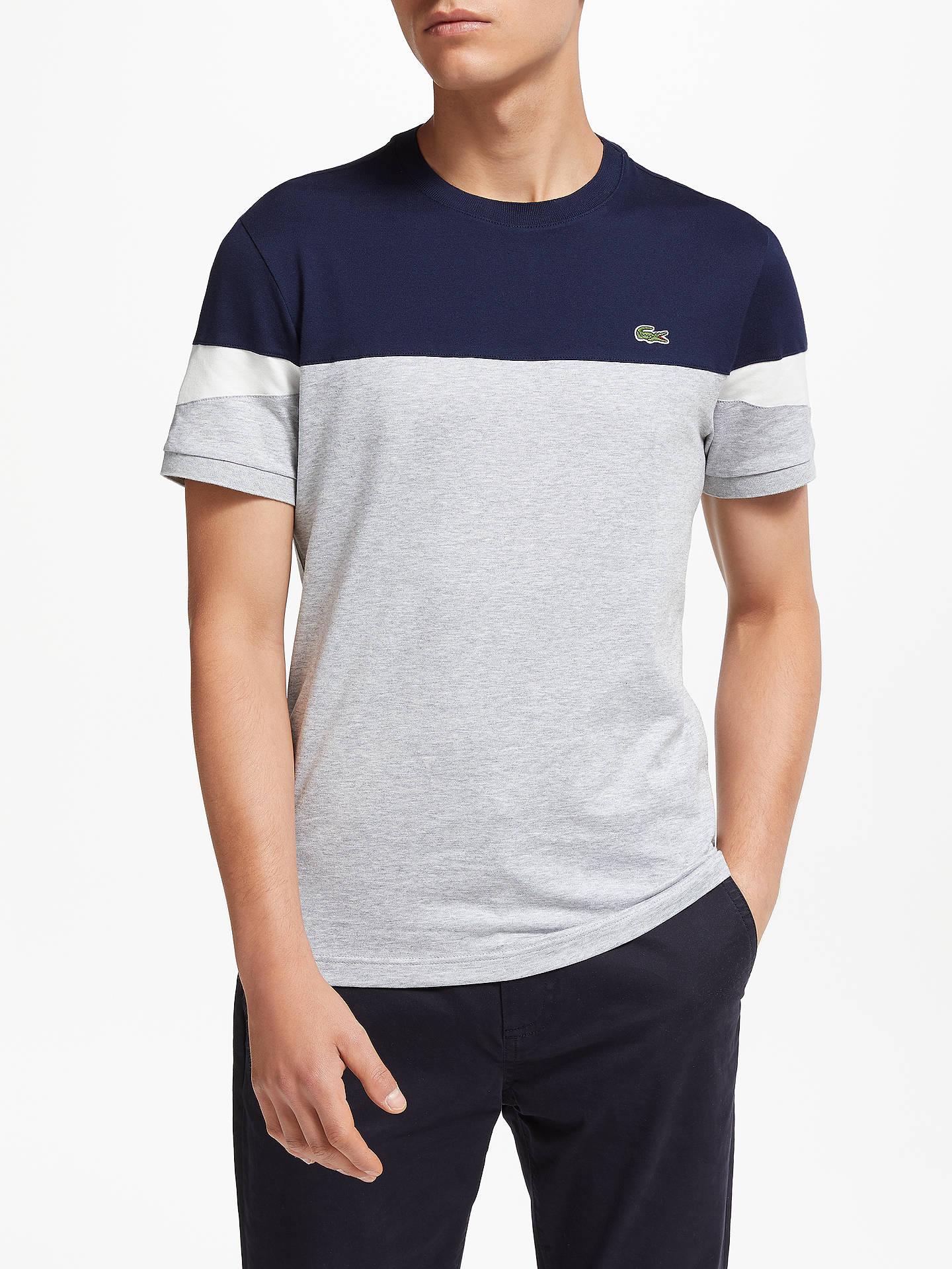399324217 Lacoste Short Sleeve Colour Block T-Shirt, Grey/Navy/White at John ...