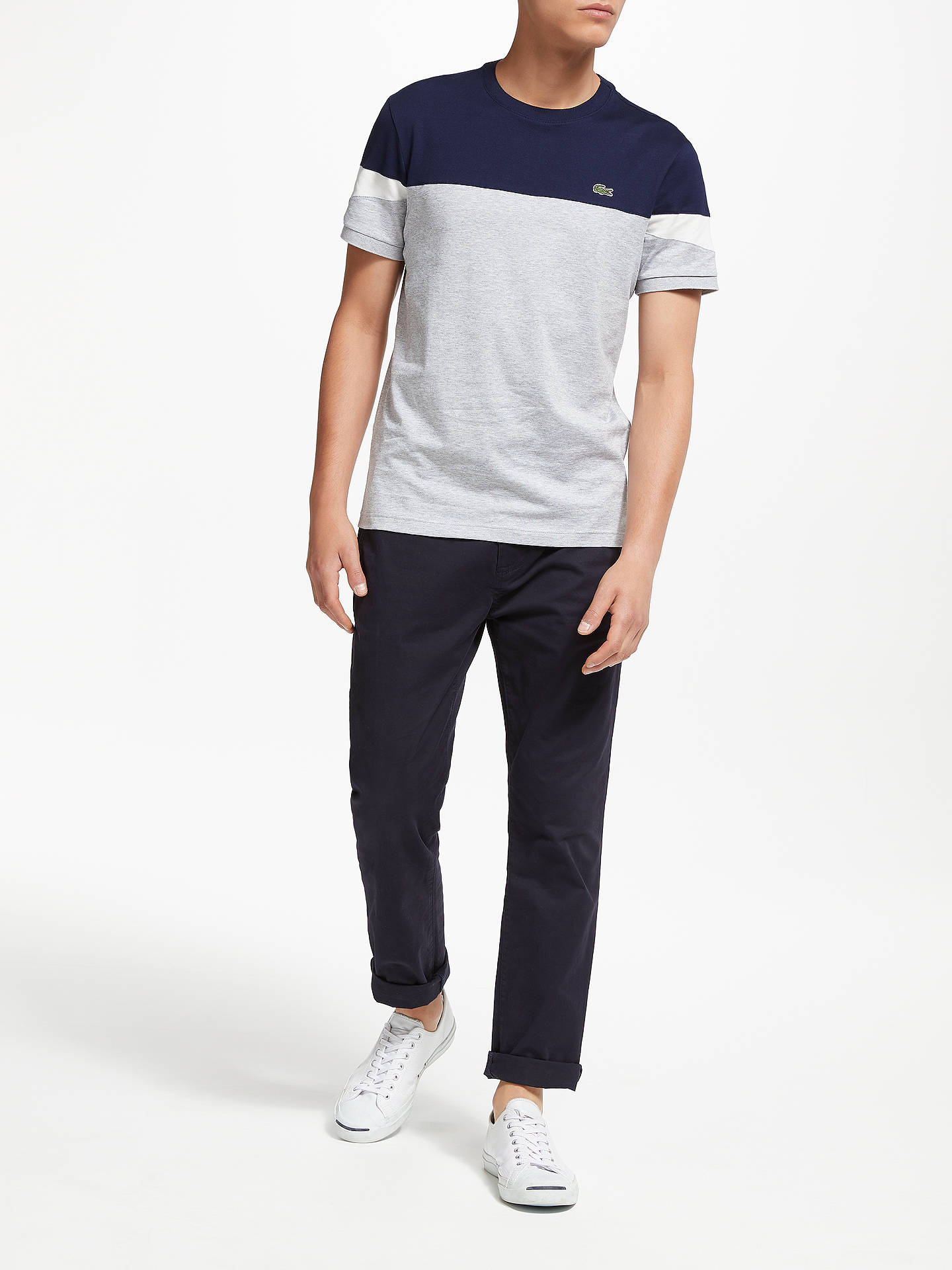 faa129c27 ... Buy Lacoste Short Sleeve Colour Block T-Shirt, Grey/Navy/White, ...