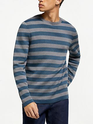 Kin Plated Knit Stripe Jumper, Grey/Blue
