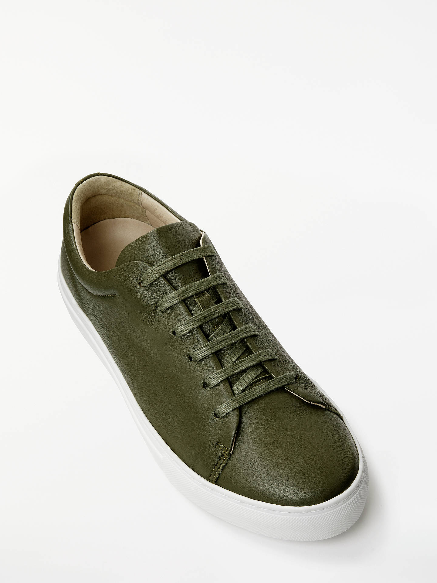 BuyJohn Lewis & Partners Flora Lace Up Trainers, Khaki Leather, 4 Online at johnlewis.com