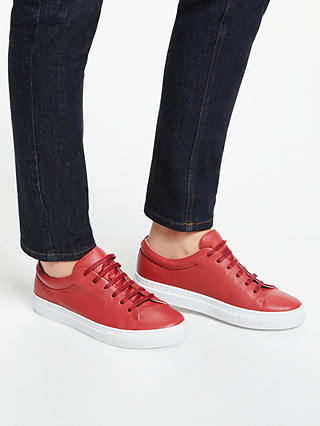 Buy John Lewis & Partners Flora Lace Up Trainers, Red Leather, 4 Online at johnlewis.com