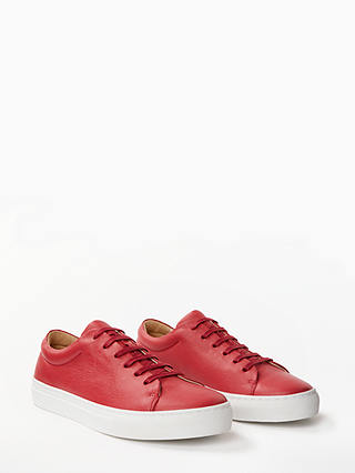 Buy John Lewis & Partners Flora Lace Up Trainers, Red Leather, 8 Online at johnlewis.com