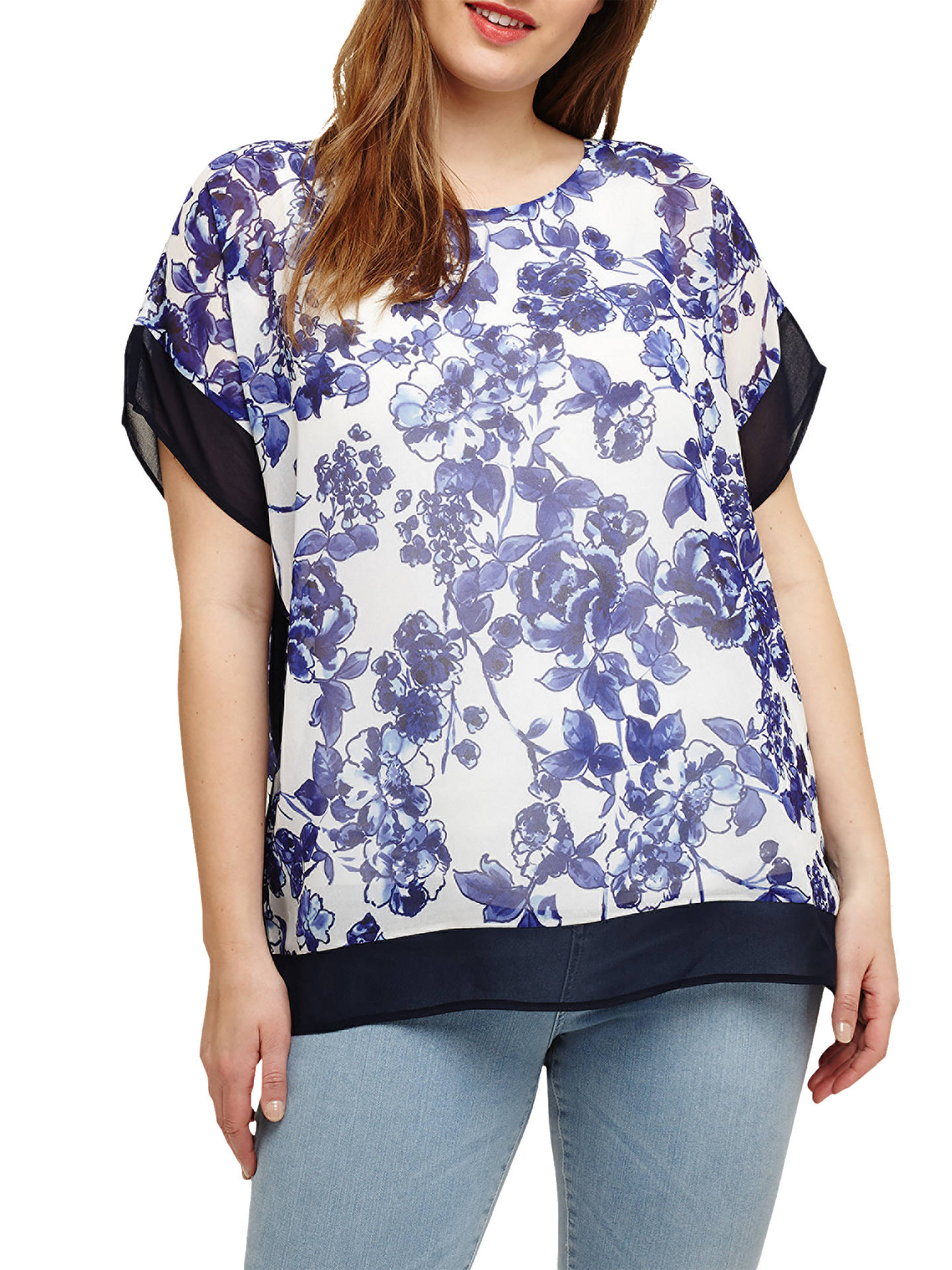 BuyStudio 8 Susan Floral Print Top, Blue/Ivory, 16 Online at johnlewis.com