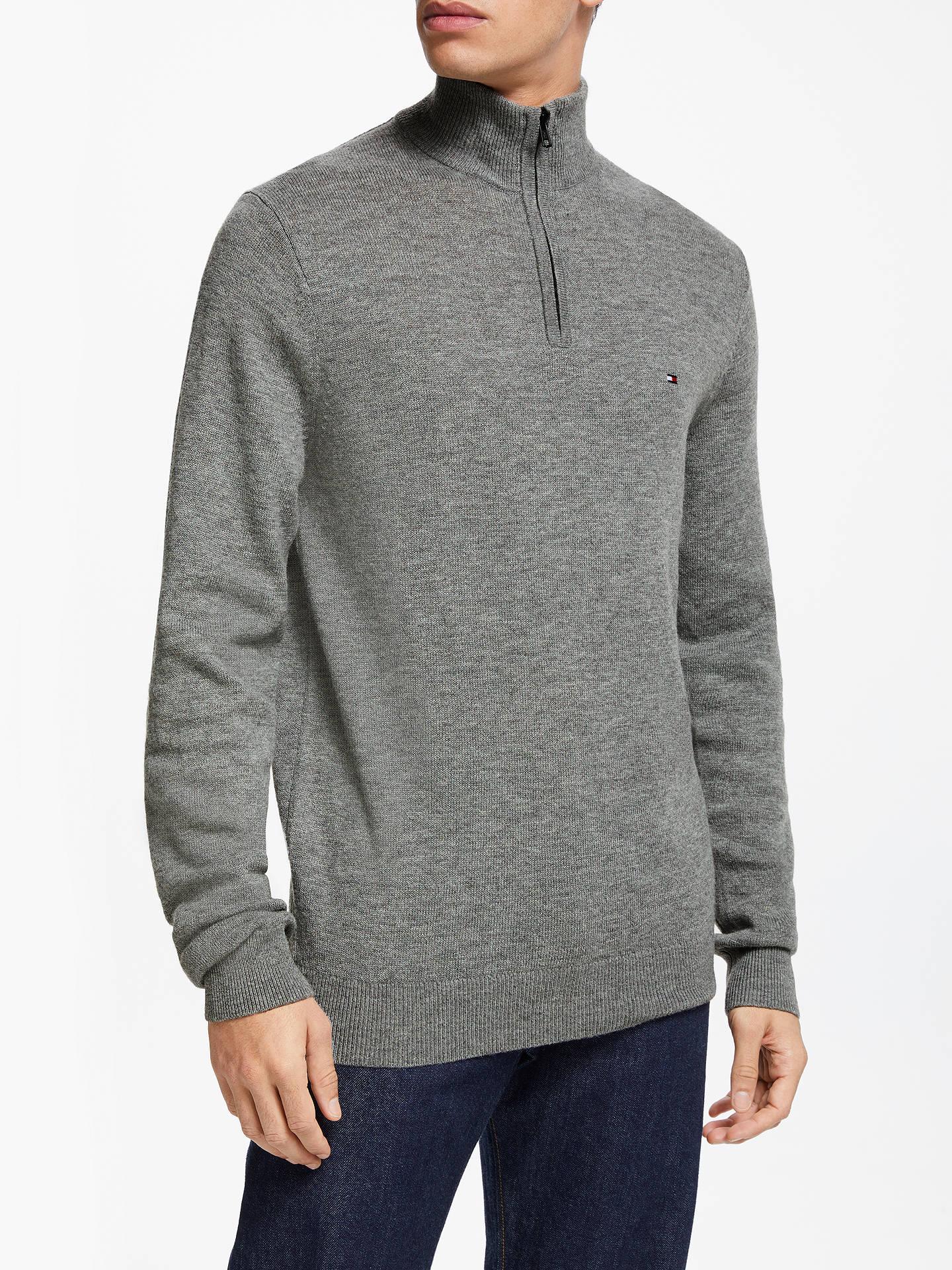 BuyTommy Hilfiger Lambswool Mock Neck Jumper, Grey, XL Online at  johnlewis.com ... 8b523033bd