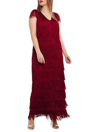 Studio 8  Esmerelda Fringe Maxi Dress, Red