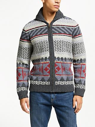 JOHN LEWIS & Co. Americana Knit Shawl Cardigan, Grey/Multi