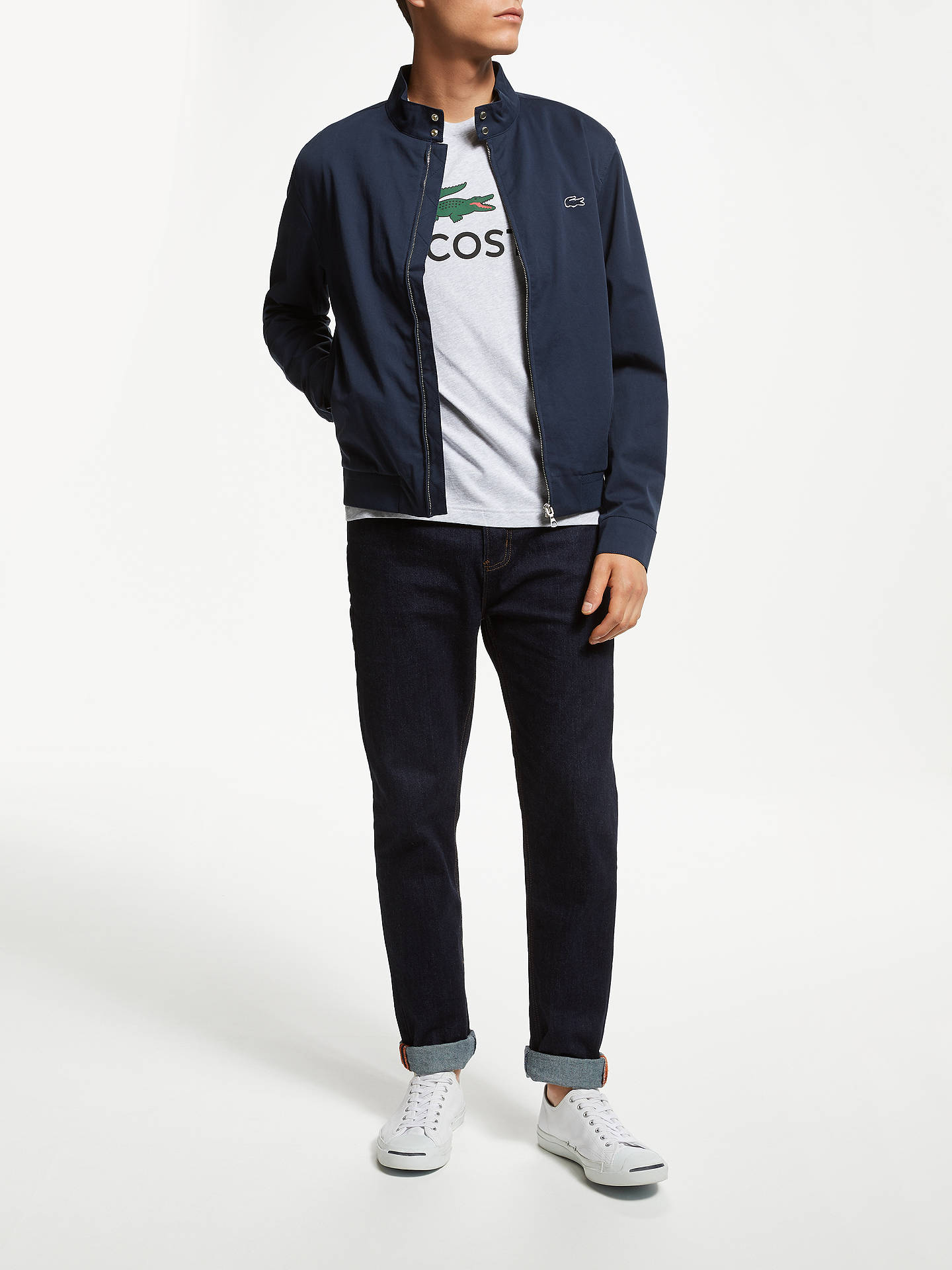 timeless design 56e17 ae92a ... Buy Lacoste Harrington Jacket, Navy, M Online at johnlewis.com ...