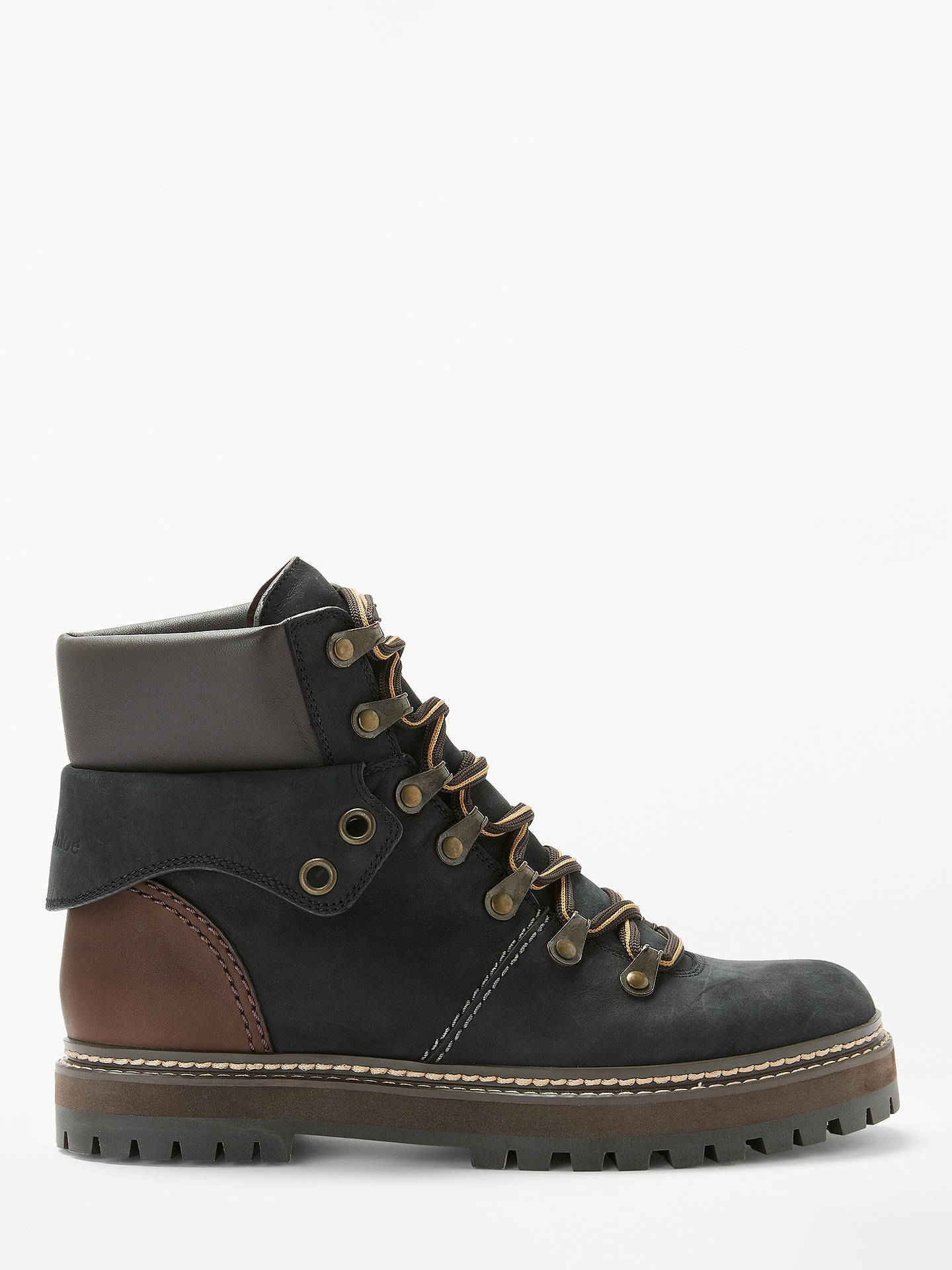 BuySee By Chloé Lace Up Ankle Boots, Dark Brown Suede, 4 Online at johnlewis.com