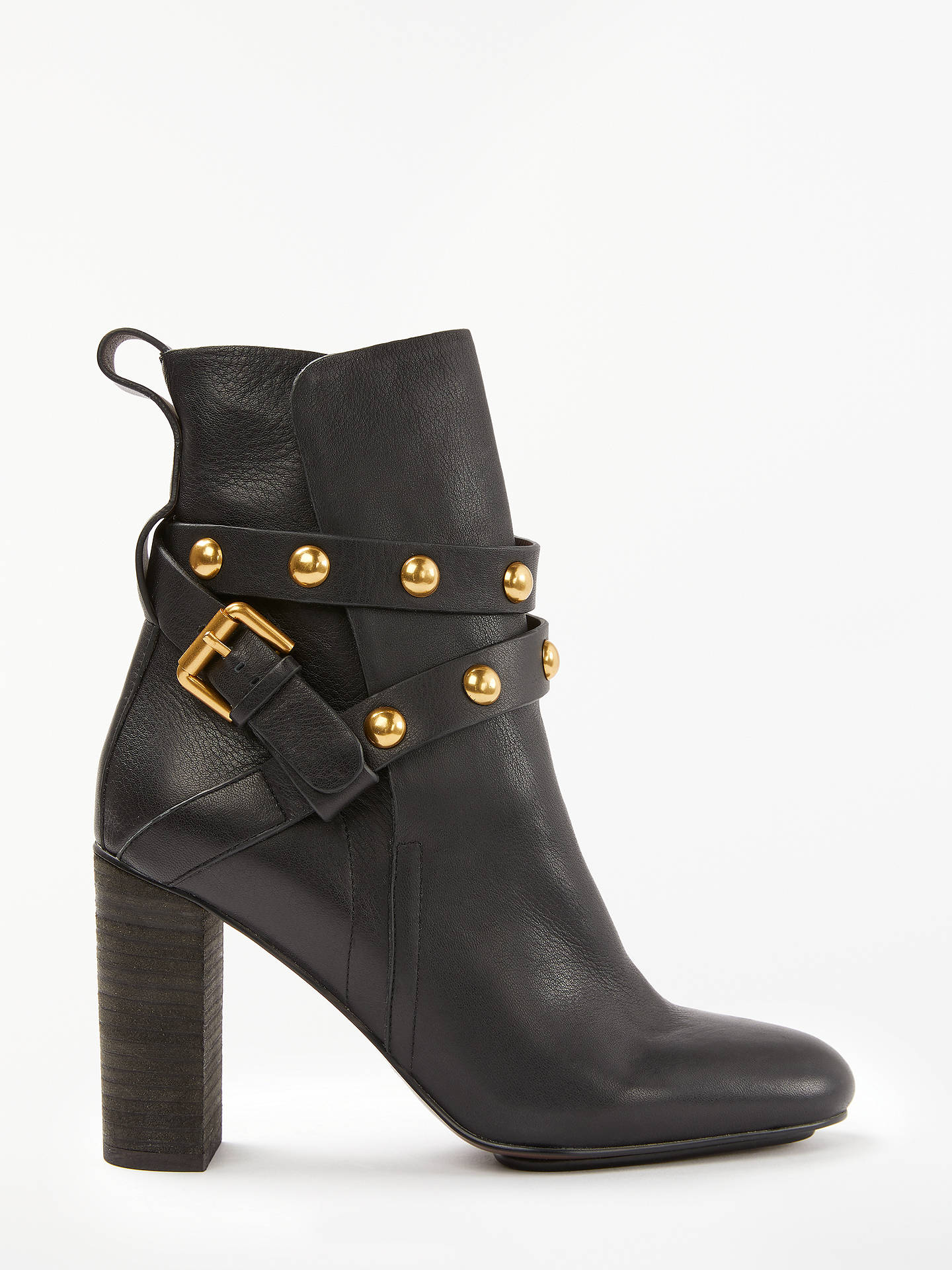 c67b55ca629 See By Chloé Stud Embellished Block Heel Ankle Boots, Black Leather ...