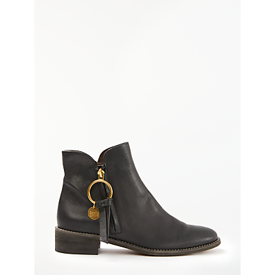 See By Chloé Low Heel Ankle Boots, Black Leather