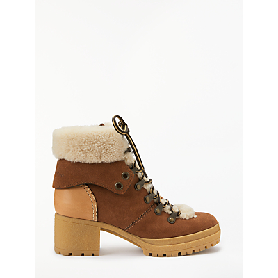 See By Chloé Lace Up Block Heel Ankle Boots, Brown Suede
