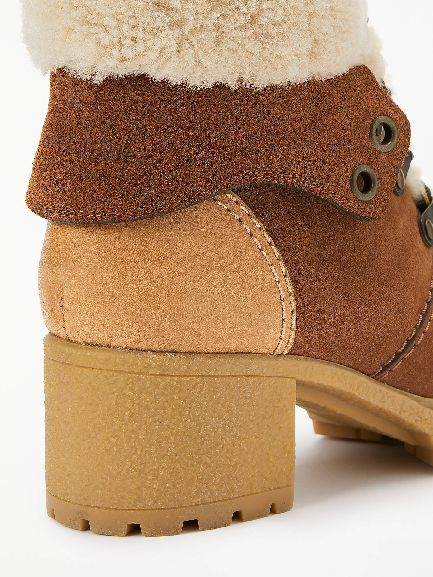 Buy See By Chloé Lace Up Block Heel Ankle Boots, Brown Suede, 7 Online at johnlewis.com