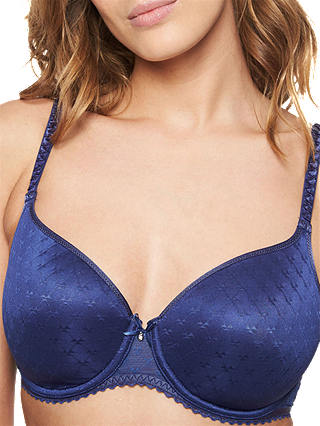Buy Chantelle Courcelles T-Shirt Bra, Blue, 30F Online at johnlewis.com