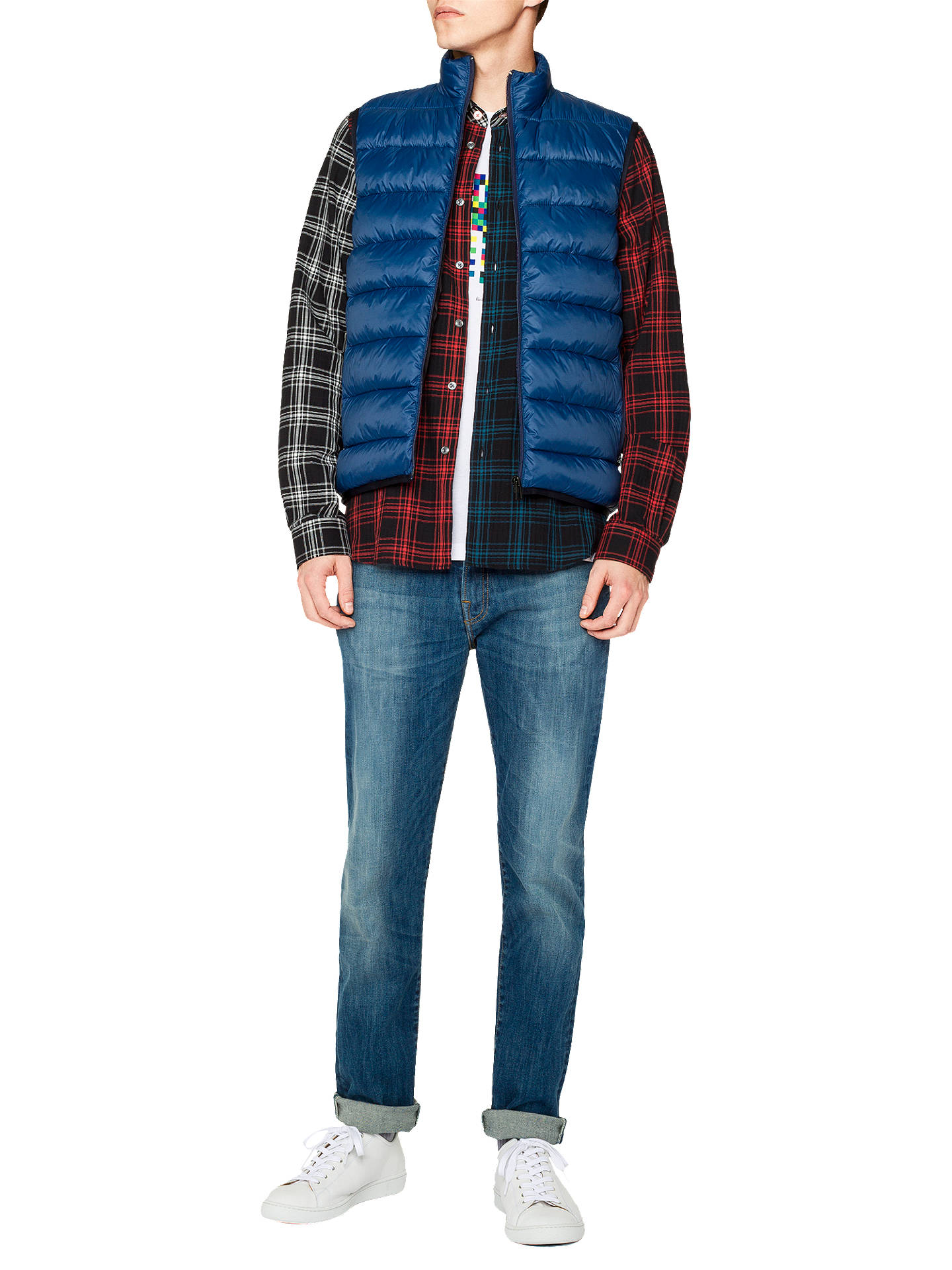 Buy PS Paul Smith Quilted Down Gilet, Blue, S Online at johnlewis.com