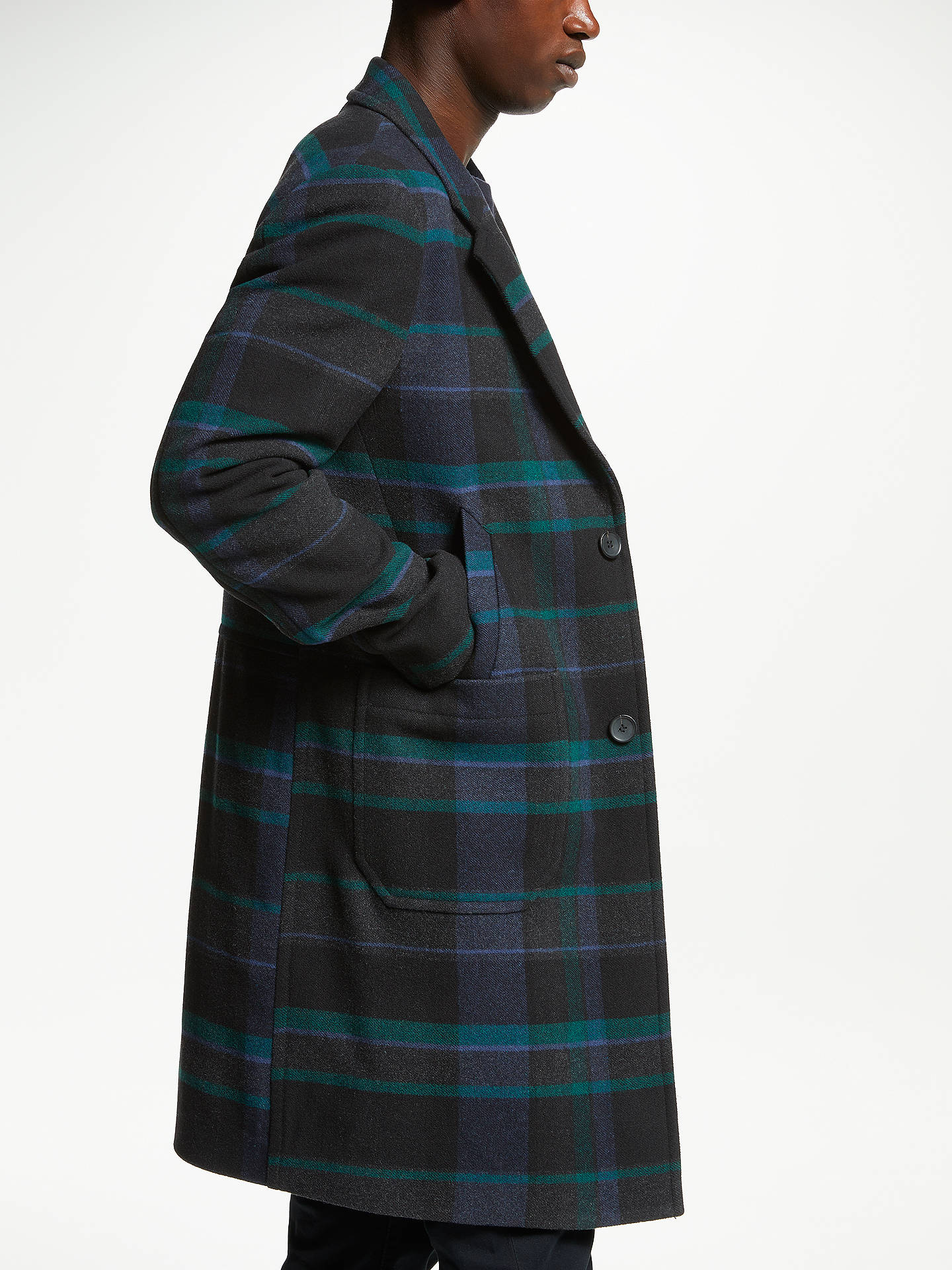 Buy PS Paul Smith Check Overcoat, Navy, M Online at johnlewis.com