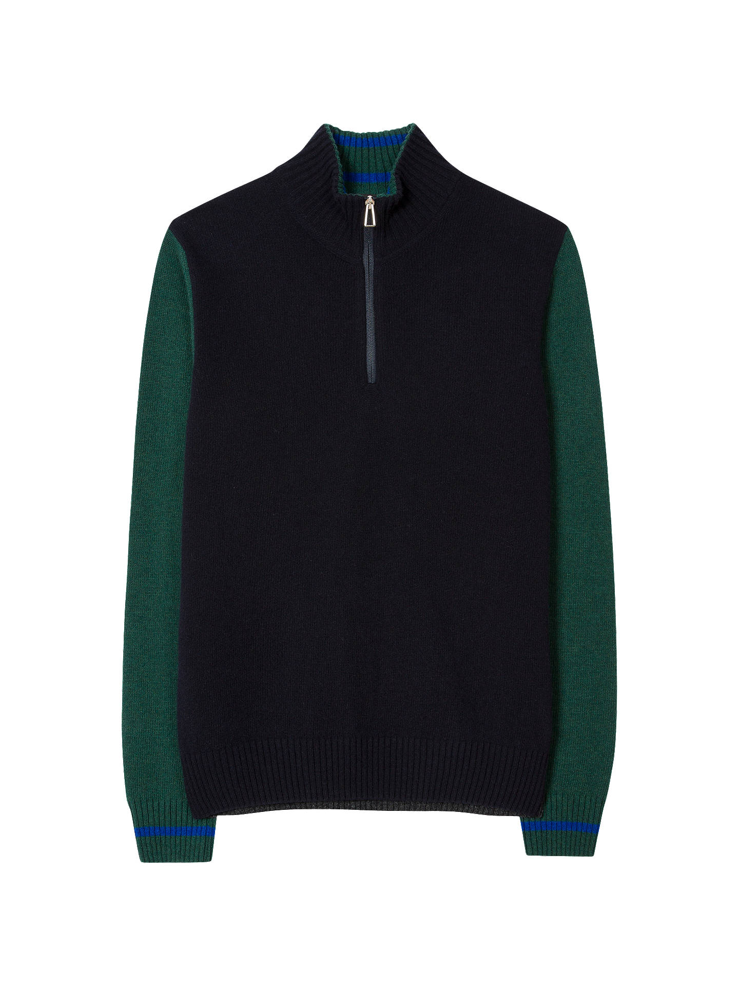 BuyPS Paul Smith Zip Neck Colour Block Sweater, Navy, L Online at johnlewis.com