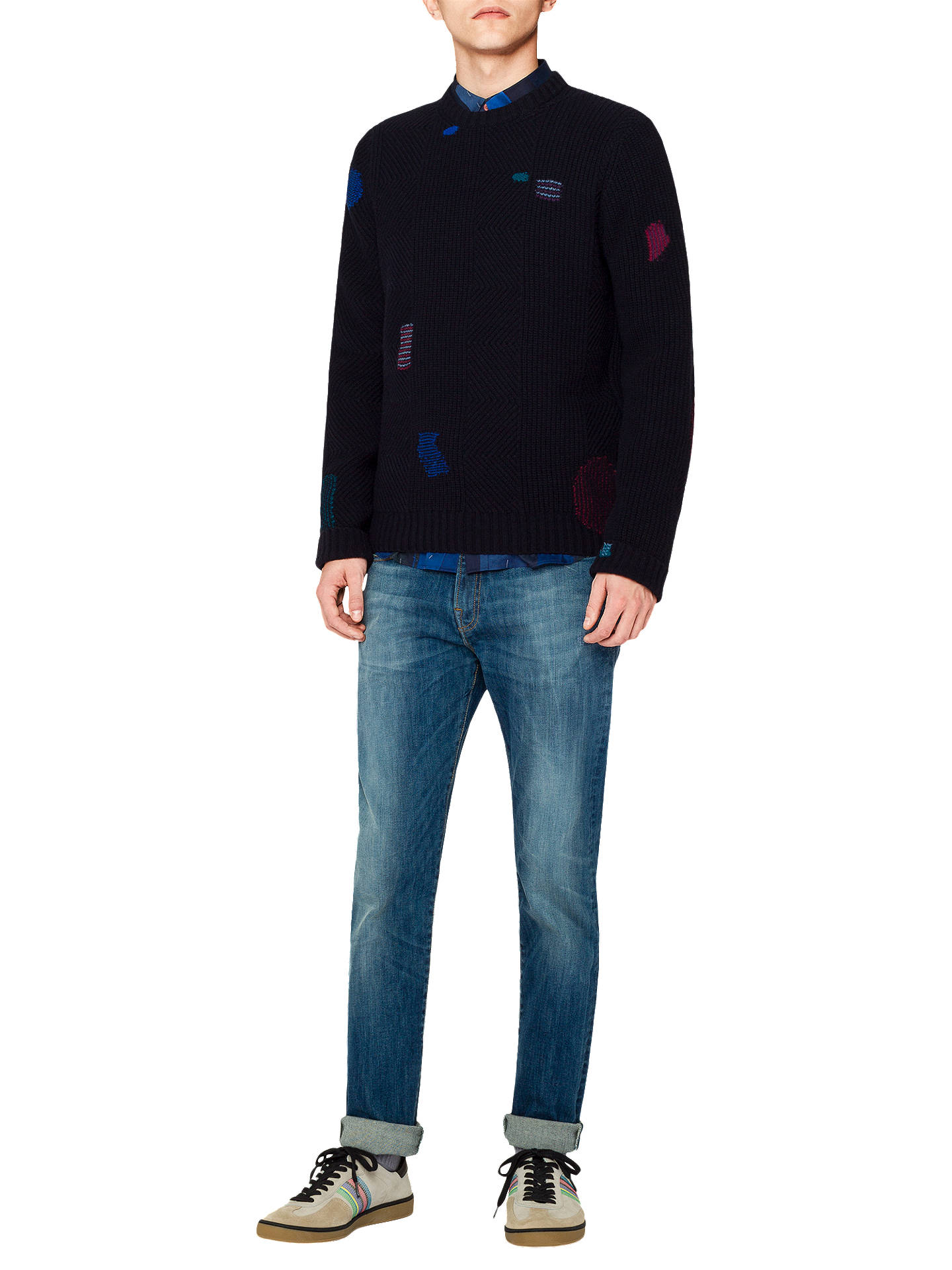 Buy PS Paul Smith Repair Rib Pullover Jumper, Navy, M Online at johnlewis.com