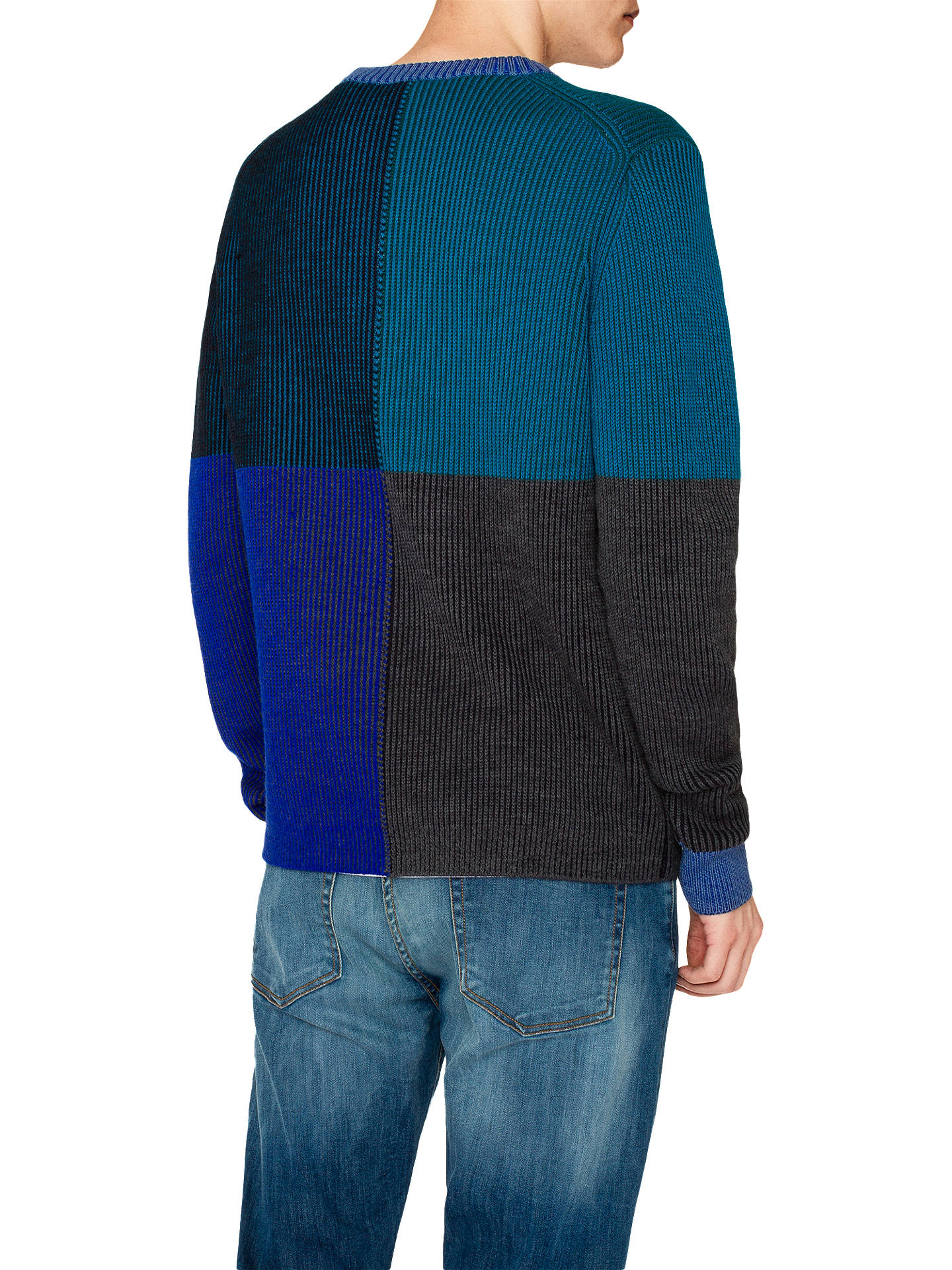 Buy PS Paul Smith Rib Merino Pullover Jumper, Blue/Multi, L Online at johnlewis.com