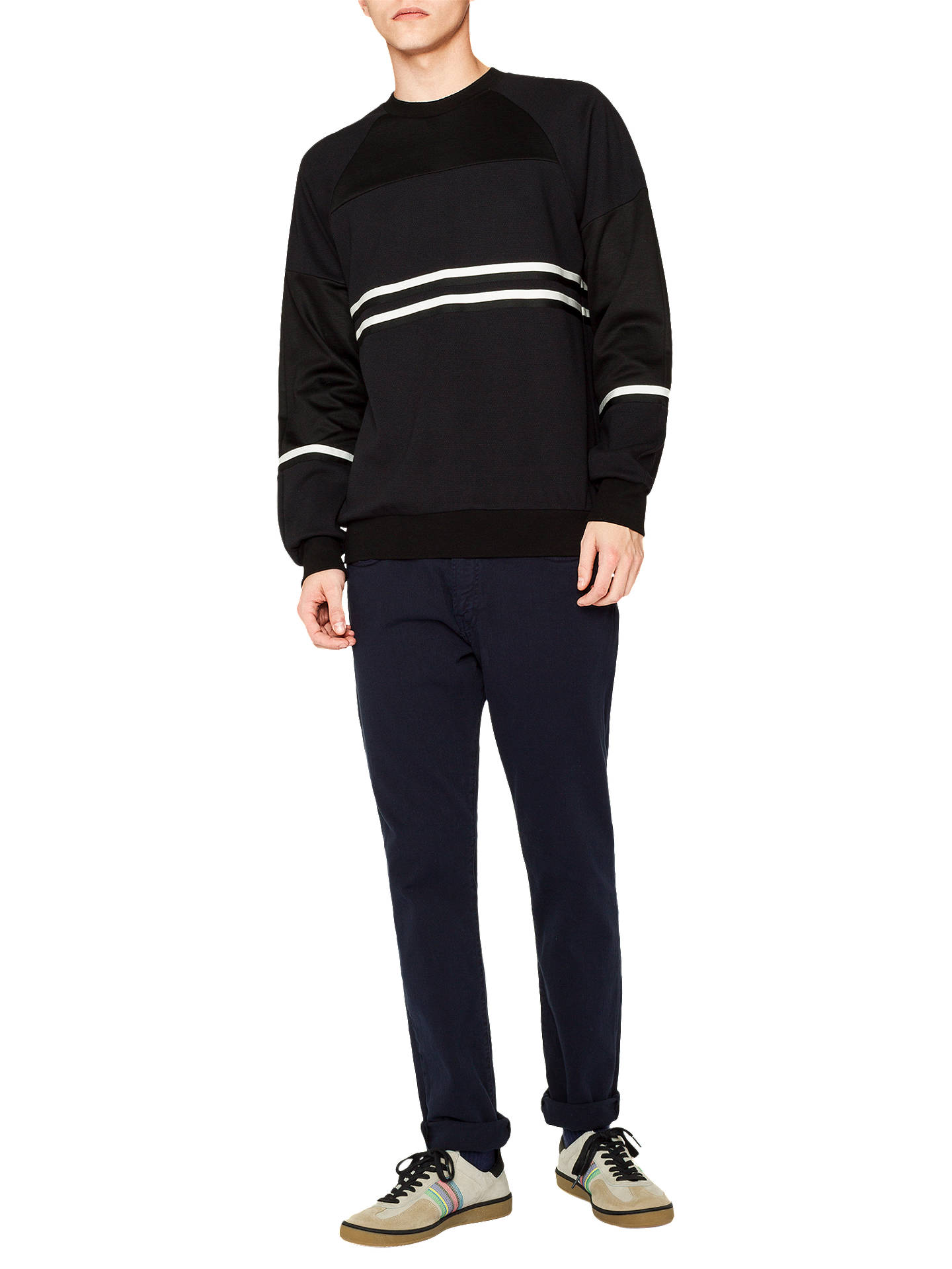 Buy PS Paul Smith Mixed Stripe Sweatshirt, Black, M Online at johnlewis.com