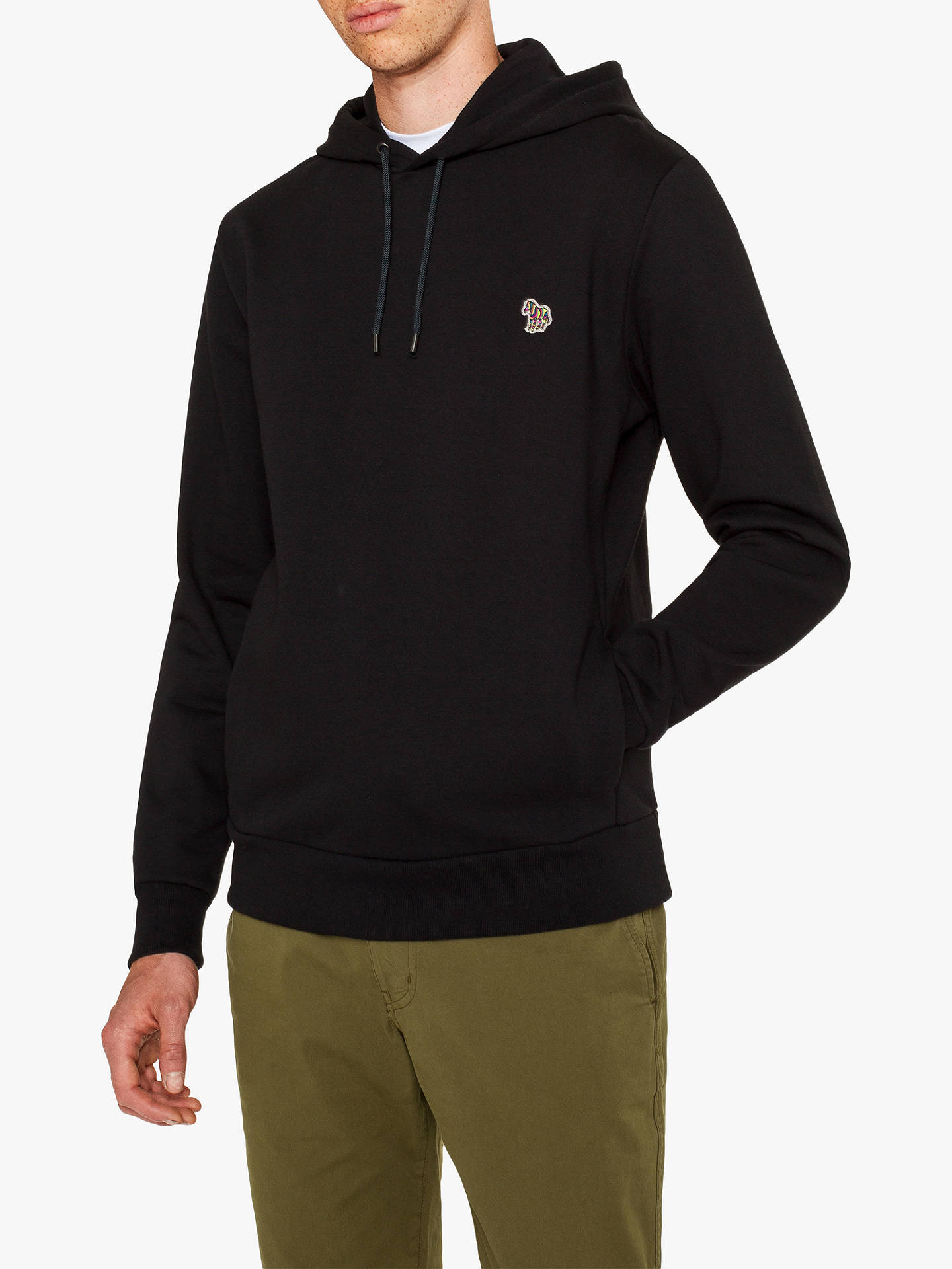 Buy PS Paul Smith Zebra Logo Hooded Jersey Top, Navy, M Online at johnlewis.com