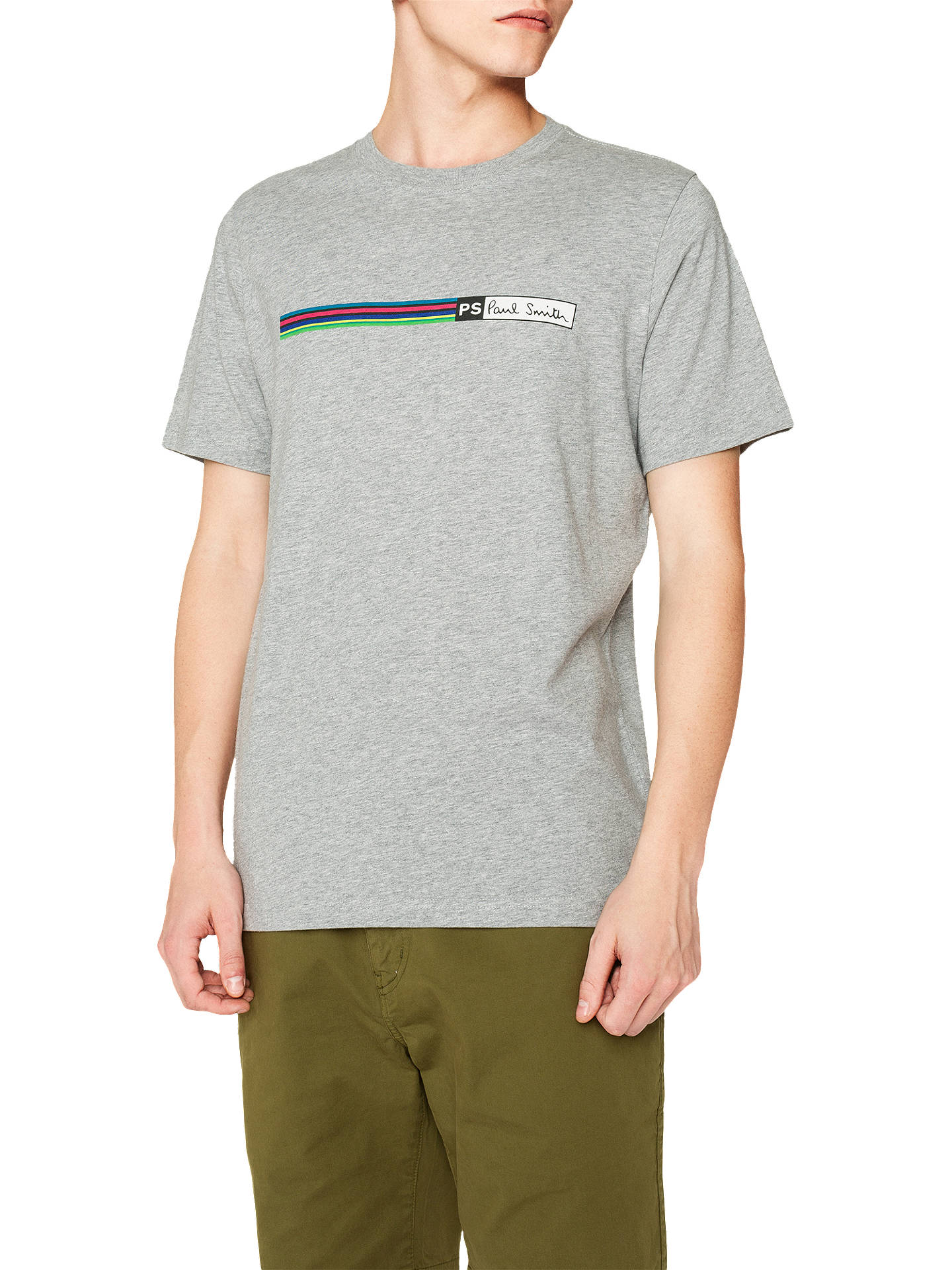 Buy PS Paul Smith Stripe Logo T-Shirt, Grey, S Online at johnlewis.com