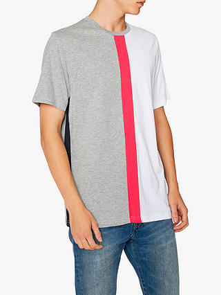 Buy PS Paul Smith Cut and Sew Panel T-Shirt, White/Grey, XL Online at johnlewis.com
