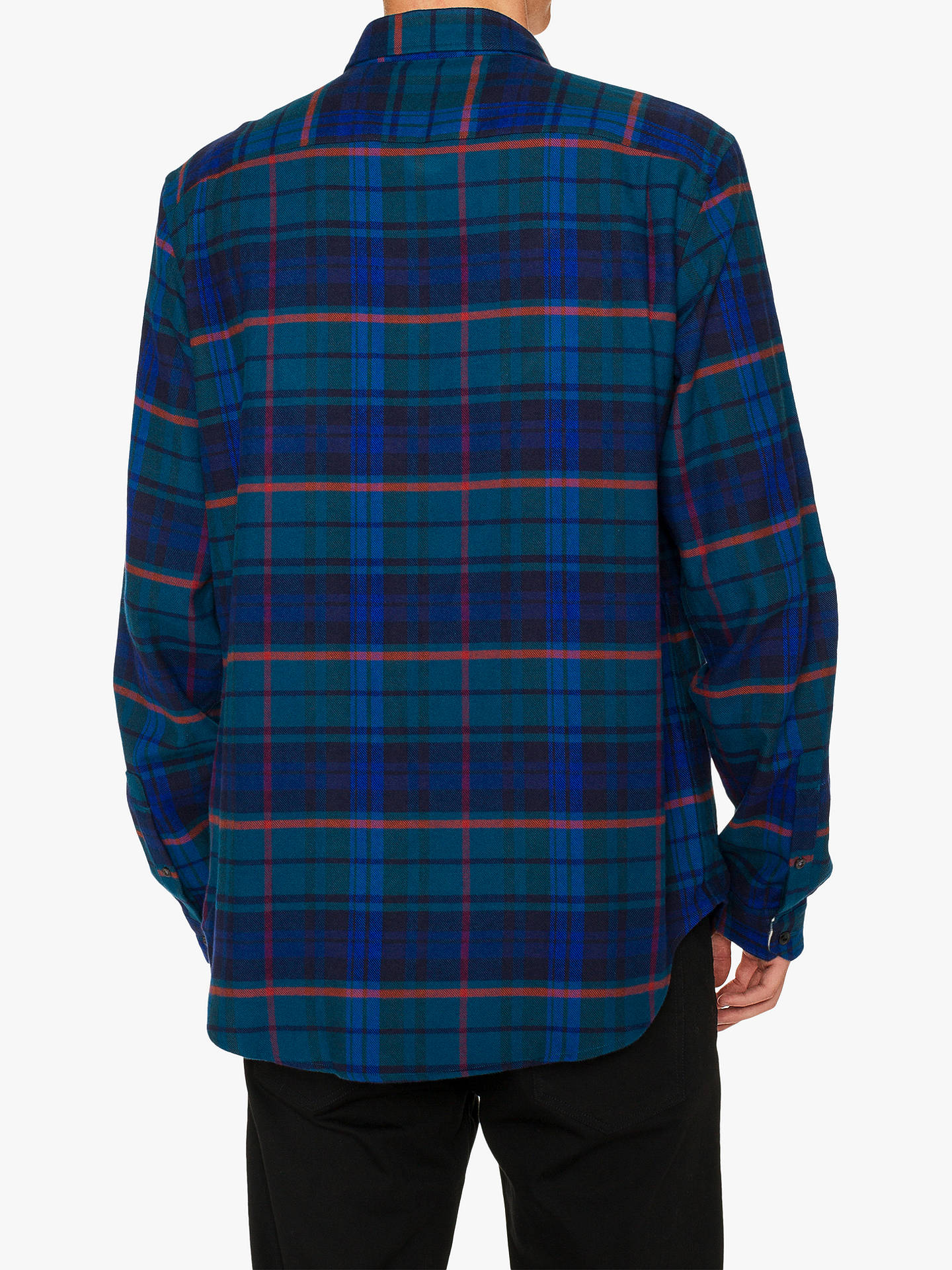 Buy PS Paul Smith Casual Fit Flannel Shirt, Teal, M Online at johnlewis.com