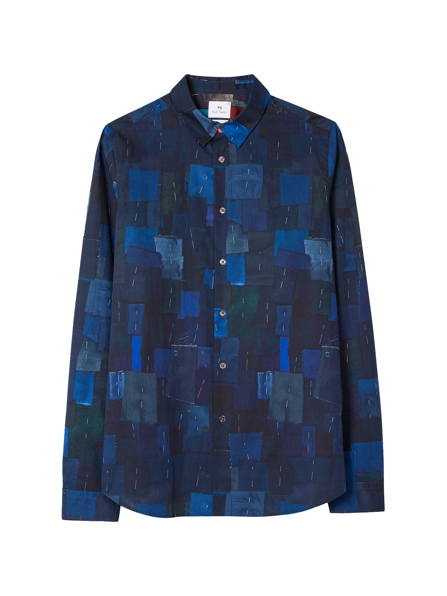 BuyPS Paul Smith Digital Print Tailored Shirt, Navy, M Online at johnlewis.com