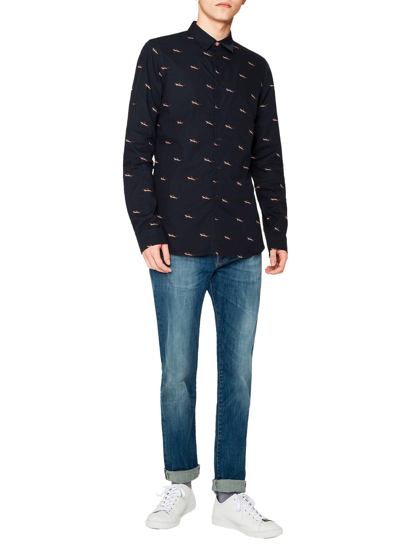 Buy PS Paul Smith Shark Tailored Fit Mens Shirt, Navy, M Online at johnlewis.com
