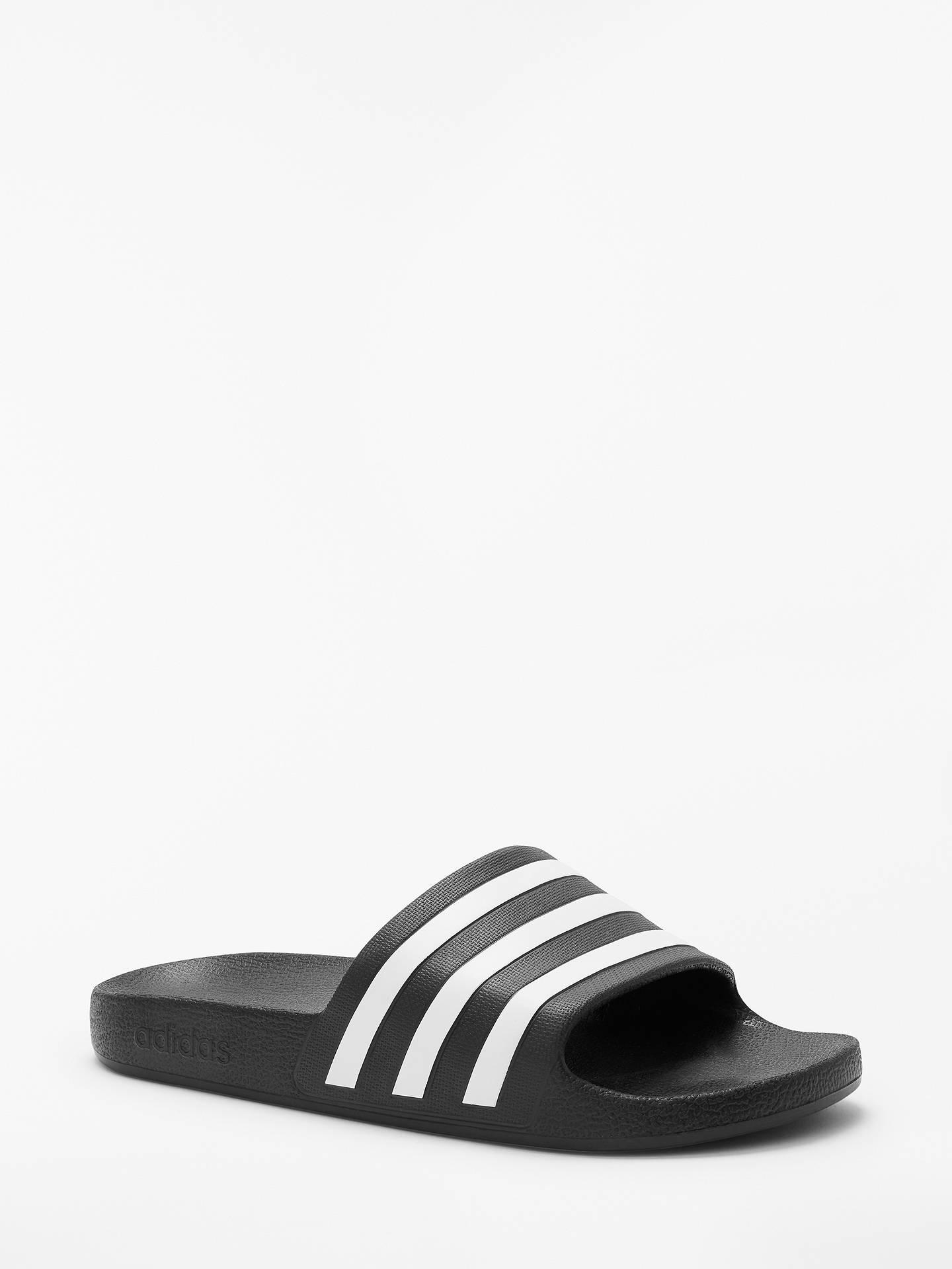sports shoes a686e ab1ed Buy adidas Adilette Aqua Slides Slippers, Black White, 7 Online at johnlewis .