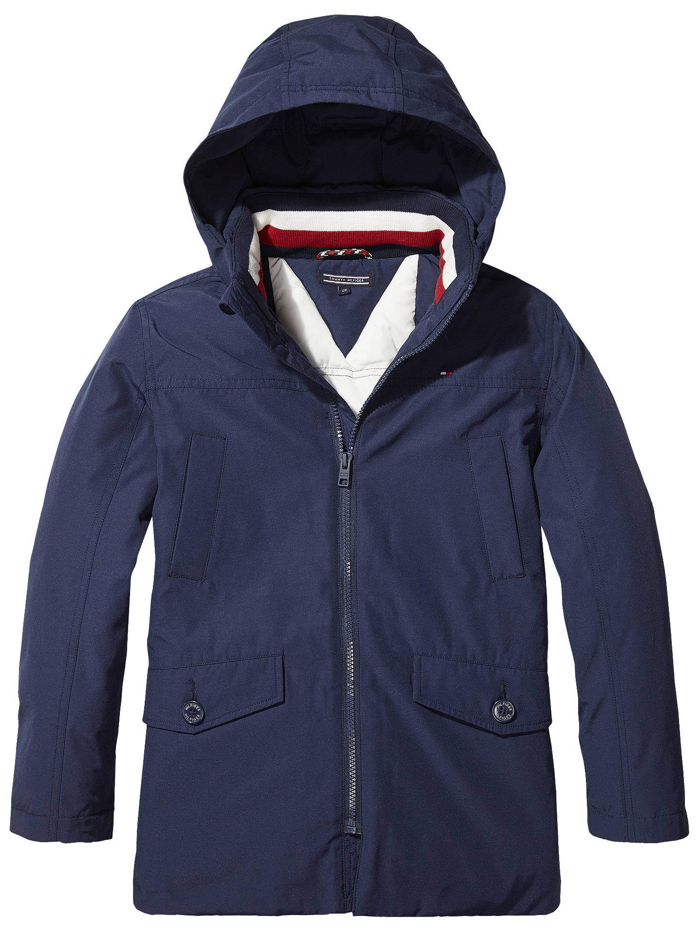 fbc0b17d891 Buy Tommy Hilfiger Boys' Padded Parka, Navy, 12 years Online at johnlewis.