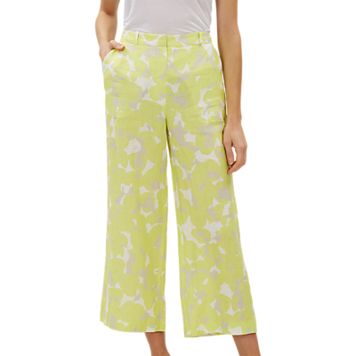 Jaeger Camouflage Linen Cropped Wide Leg Trousers, Yellow