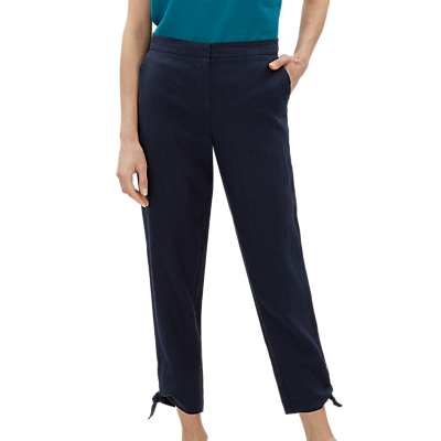 Jaeger Bow Cuff Linen Trousers, Navy