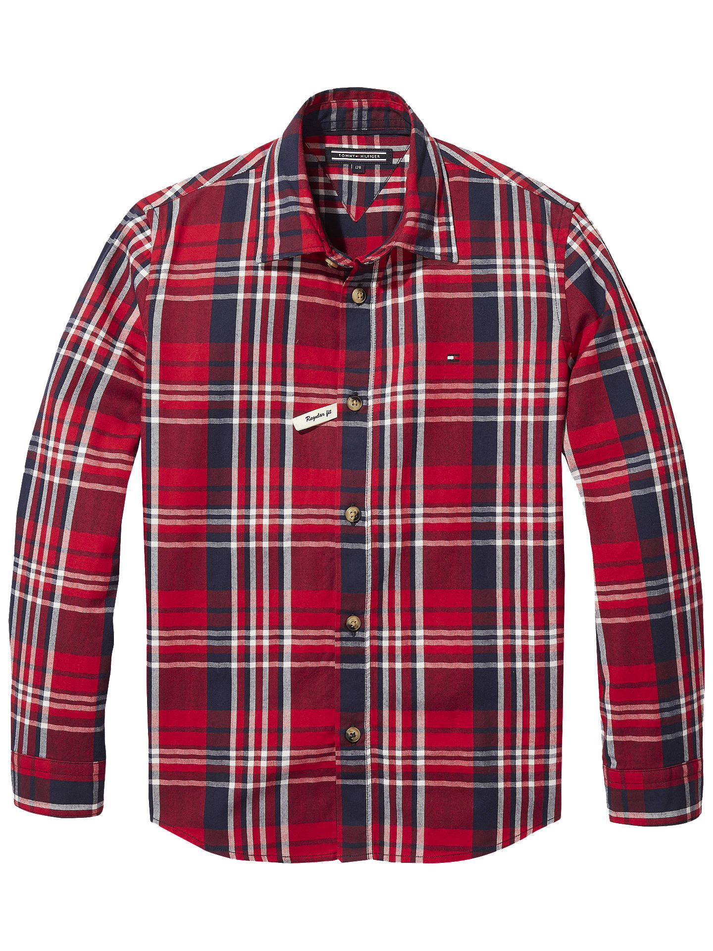 5f36747061da Buy Tommy Hilfiger Boys' Twill Check Shirt, Red, 6 years Online at  johnlewis ...
