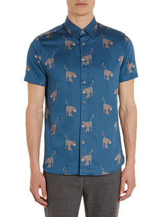 Buy Ted Baker Santha Panther Print Cotton Shirt, Blue/Multi, 2 Online at johnlewis.com