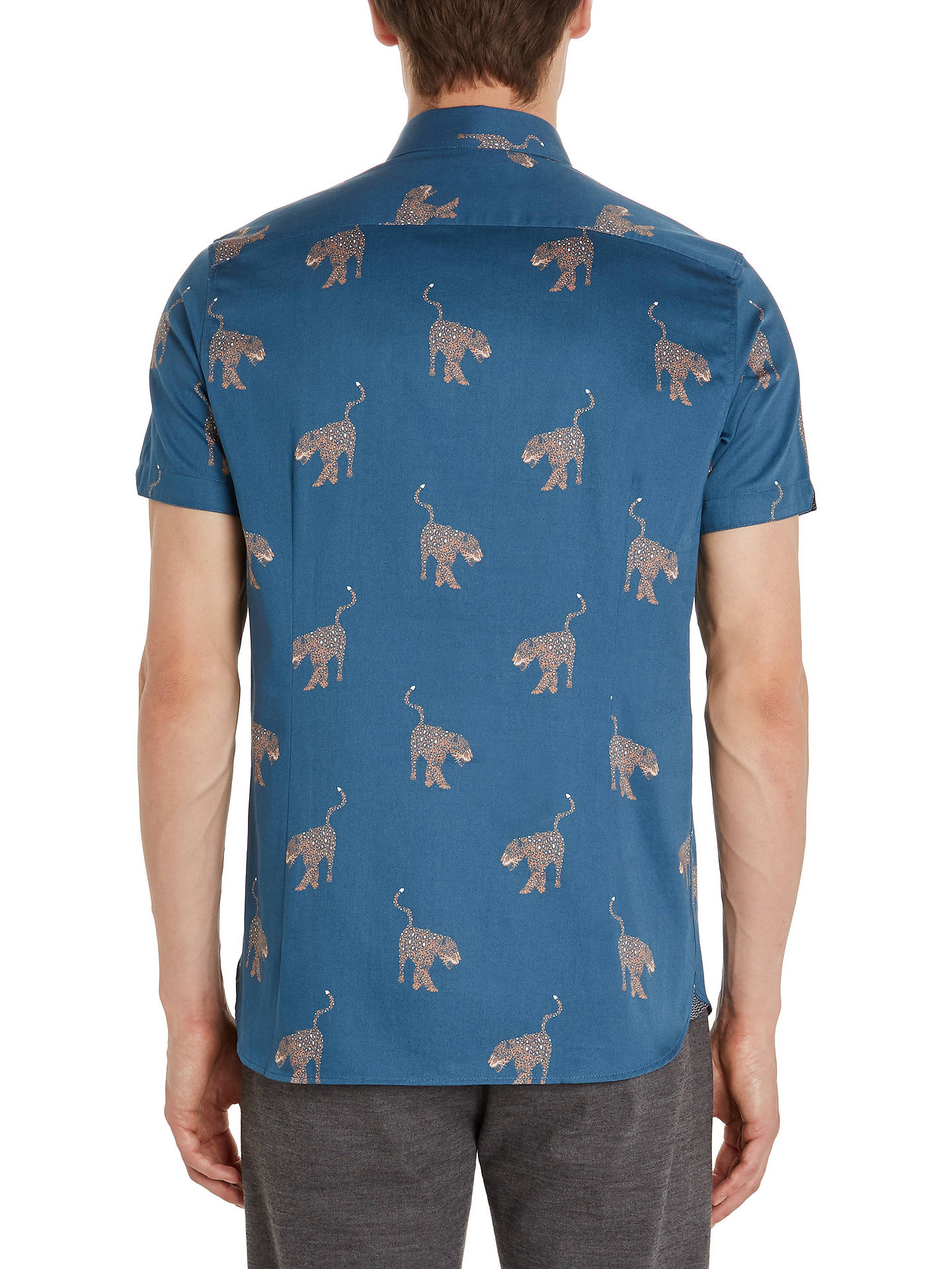 BuyTed Baker Santha Panther Print Cotton Shirt, Blue/Multi, 2 Online at johnlewis.com